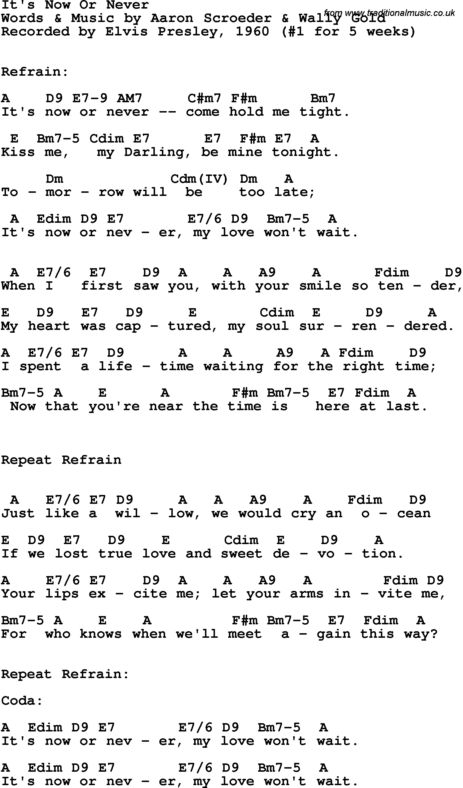 Song Lyrics With Guitar Chords For Its Now Or Never Elvis Presley