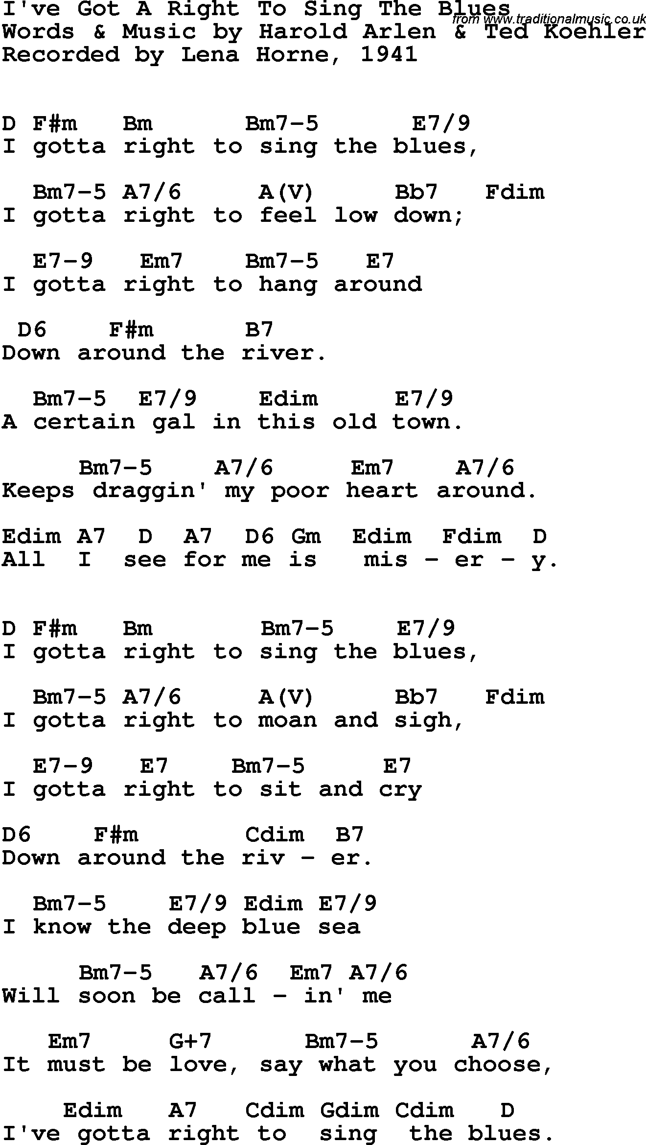 Song Lyrics With Guitar Chords For Ive Gotta Right To Sing The