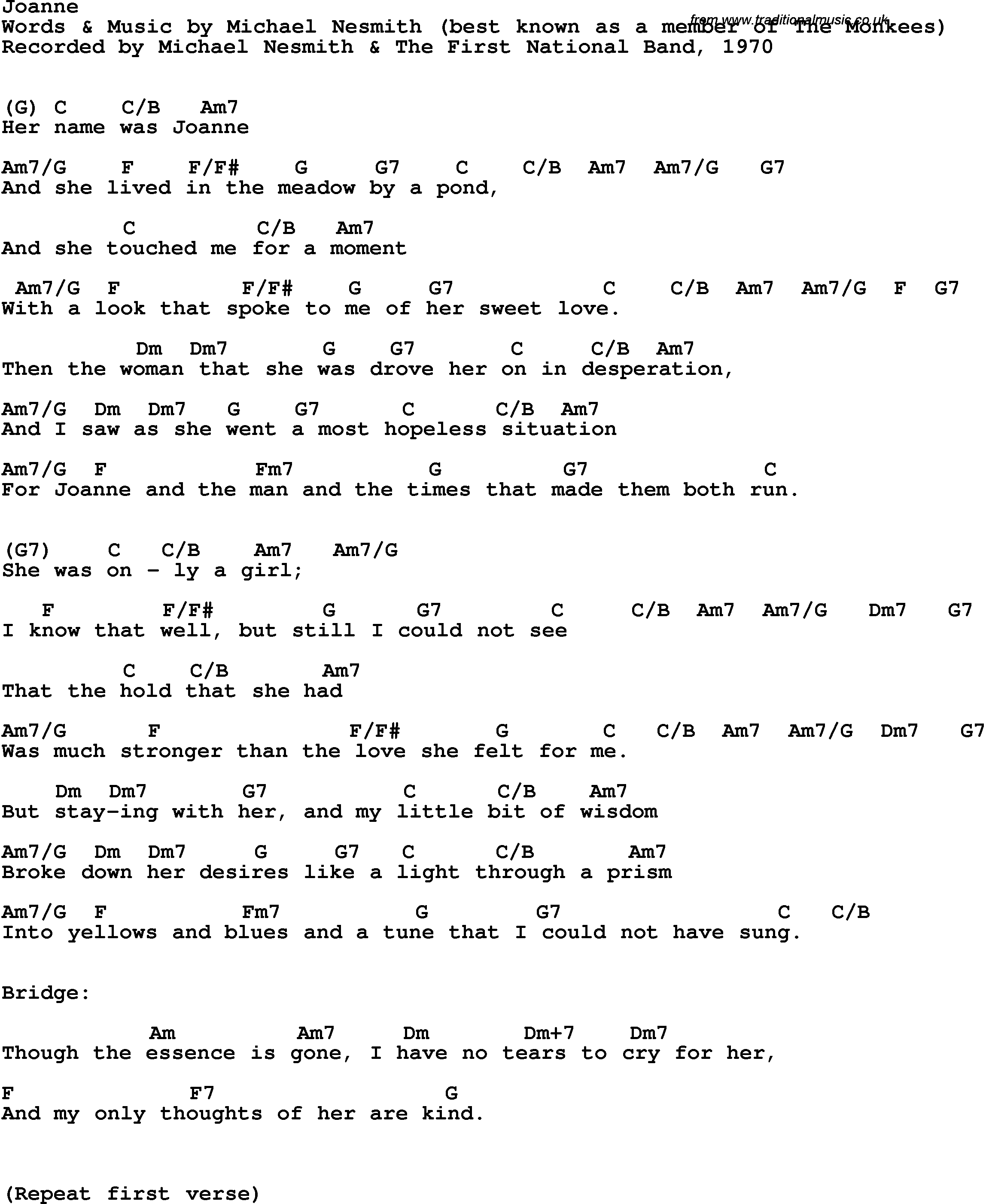 Song lyrics with guitar chords for joanne michael nesmith 1st song lyrics with guitar chords for joanne michael nesmith 1st national band 1970 hexwebz Image collections