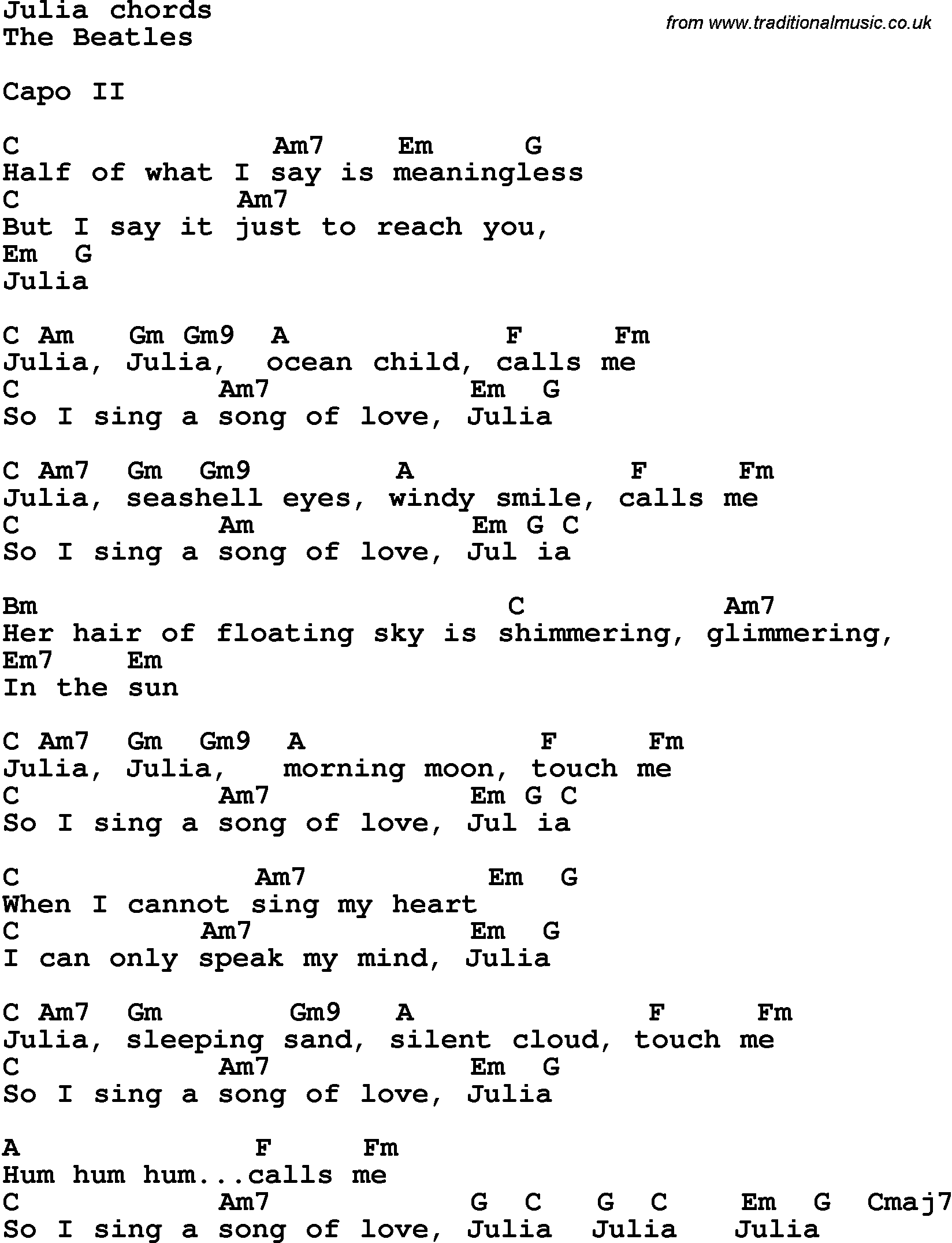 Song lyrics with guitar chords for julia the beatles song lyrics with guitar chords for julia the beatles hexwebz Images