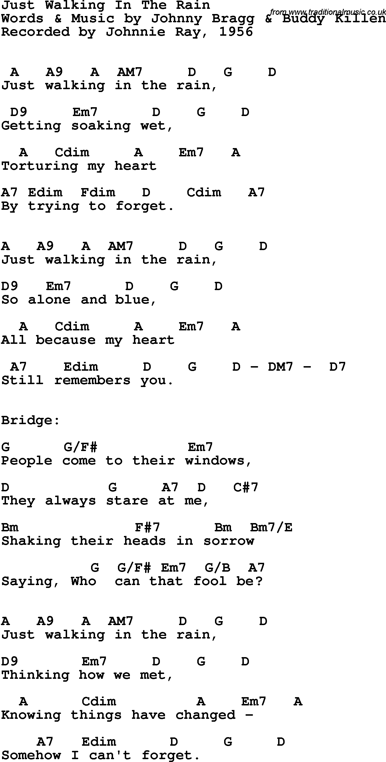 Song Lyrics With Guitar Chords For Just Walking In The Rain Johnny