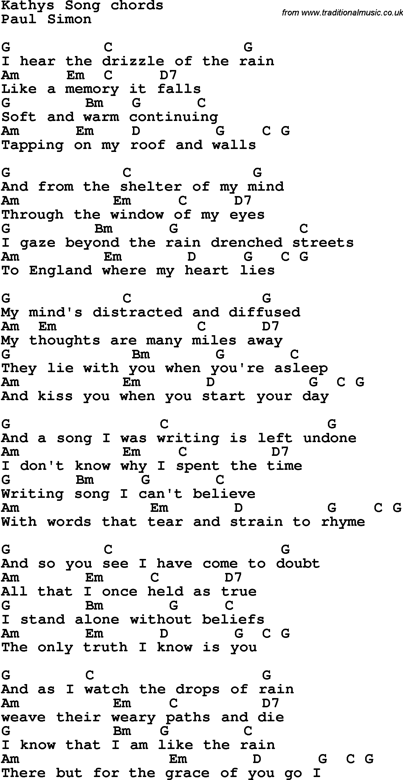 Song Lyrics With Guitar Chords For Kathys Song