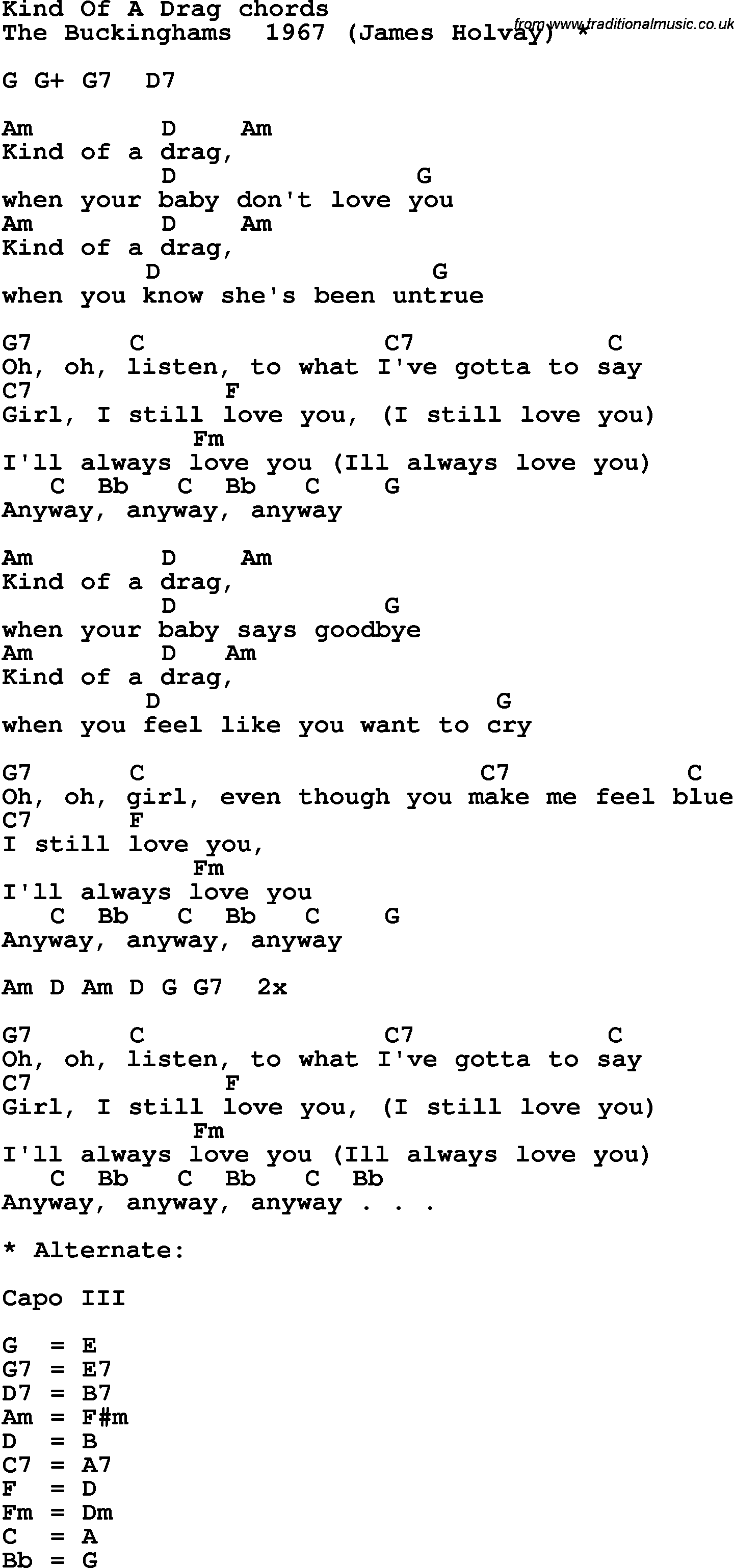 Song Lyrics With Guitar Chords For Kind Of A Drag