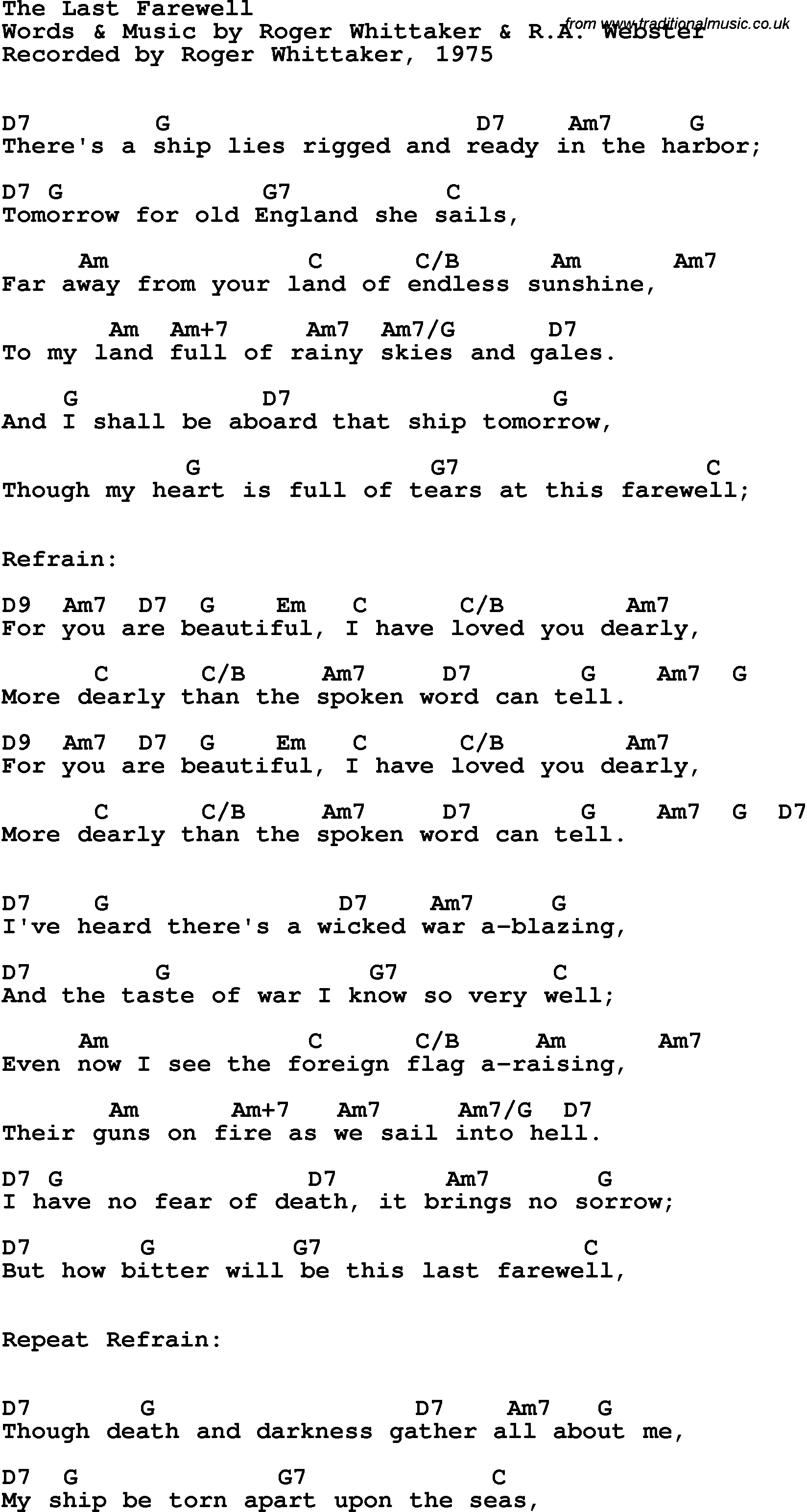 Song lyrics with guitar chords for Last Farewell, The - Roger ...