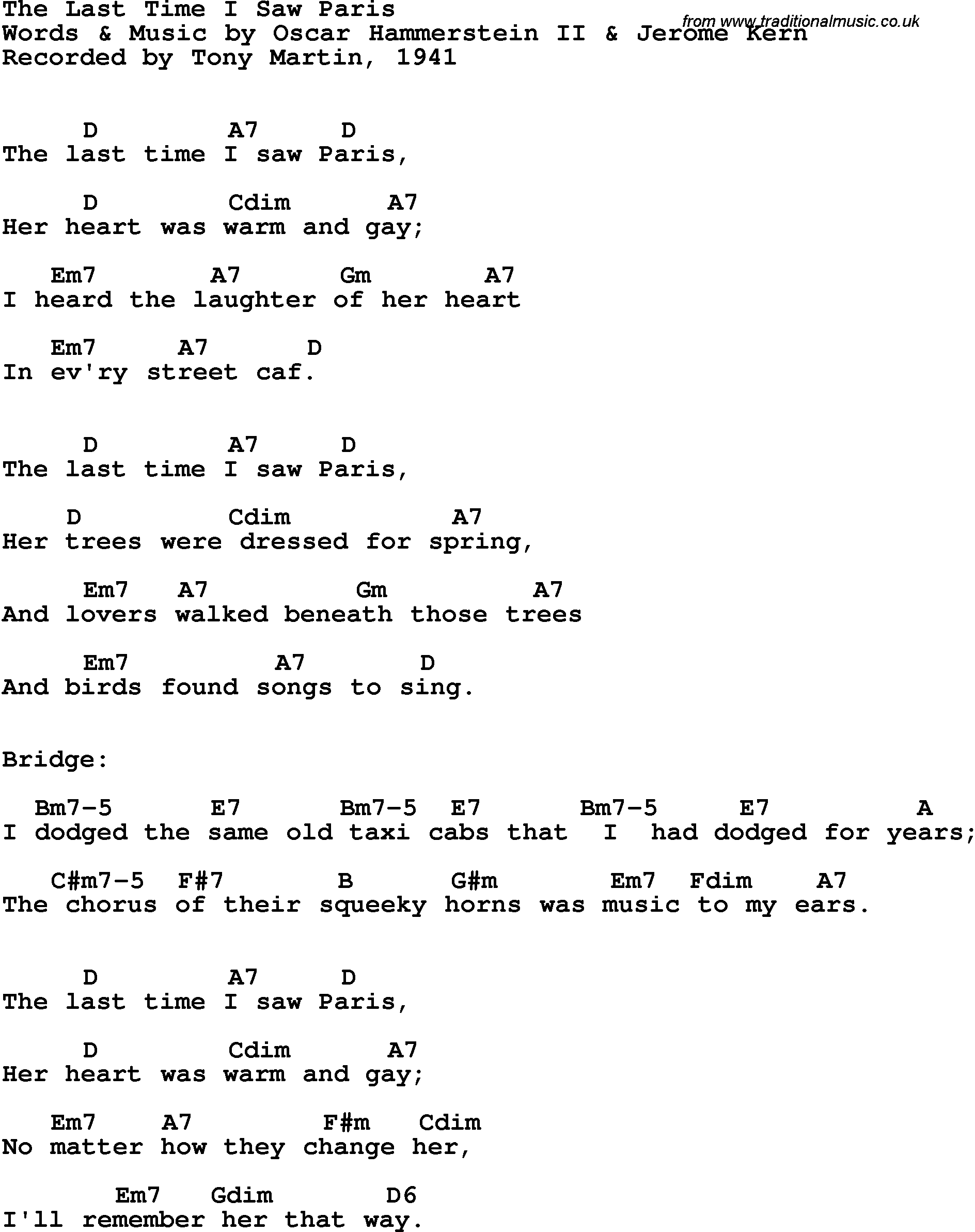 Song Lyrics With Guitar Chords For Last Time I Saw Paris The Tony