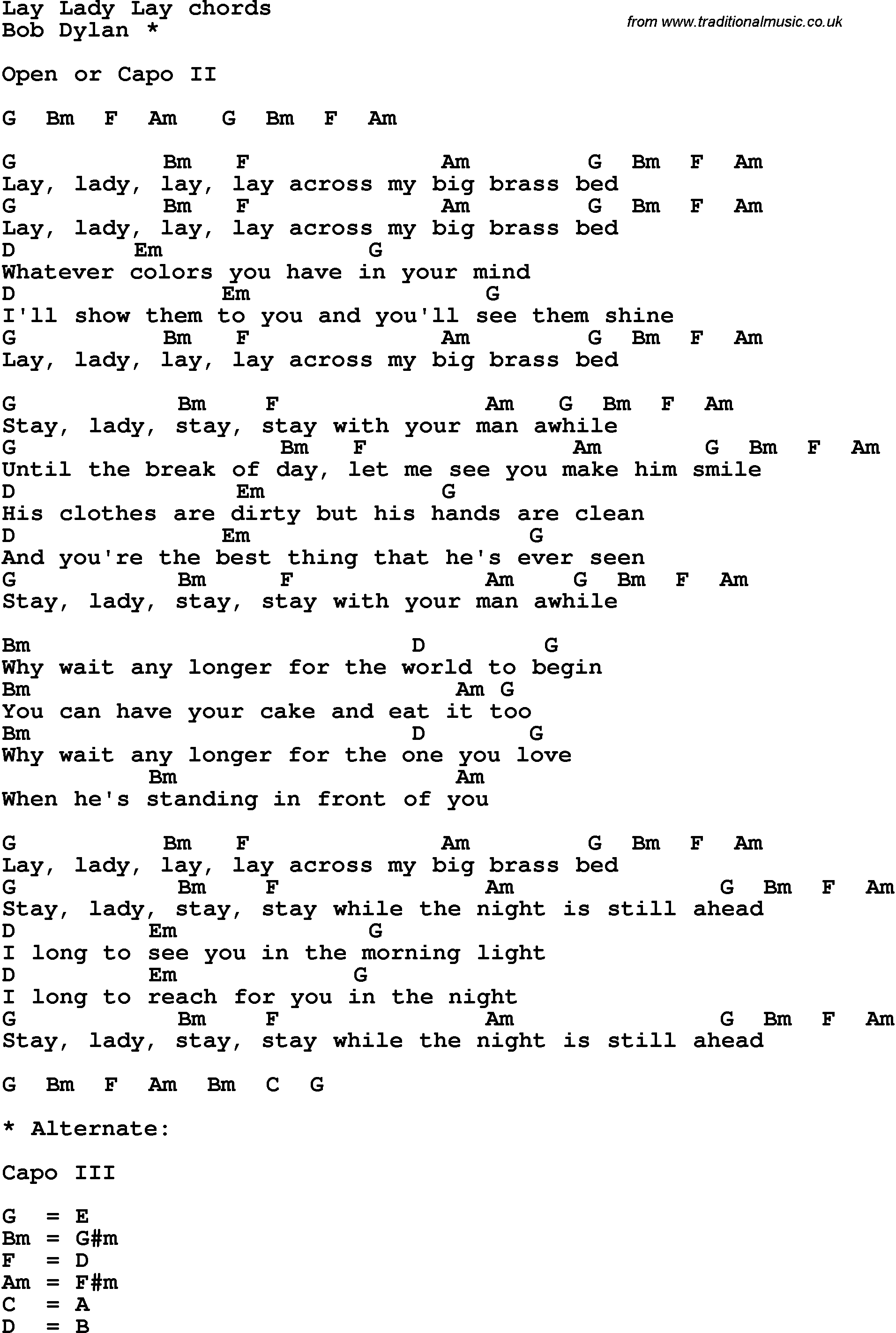 Song Lyrics With Guitar Chords For Lay Lady Lay