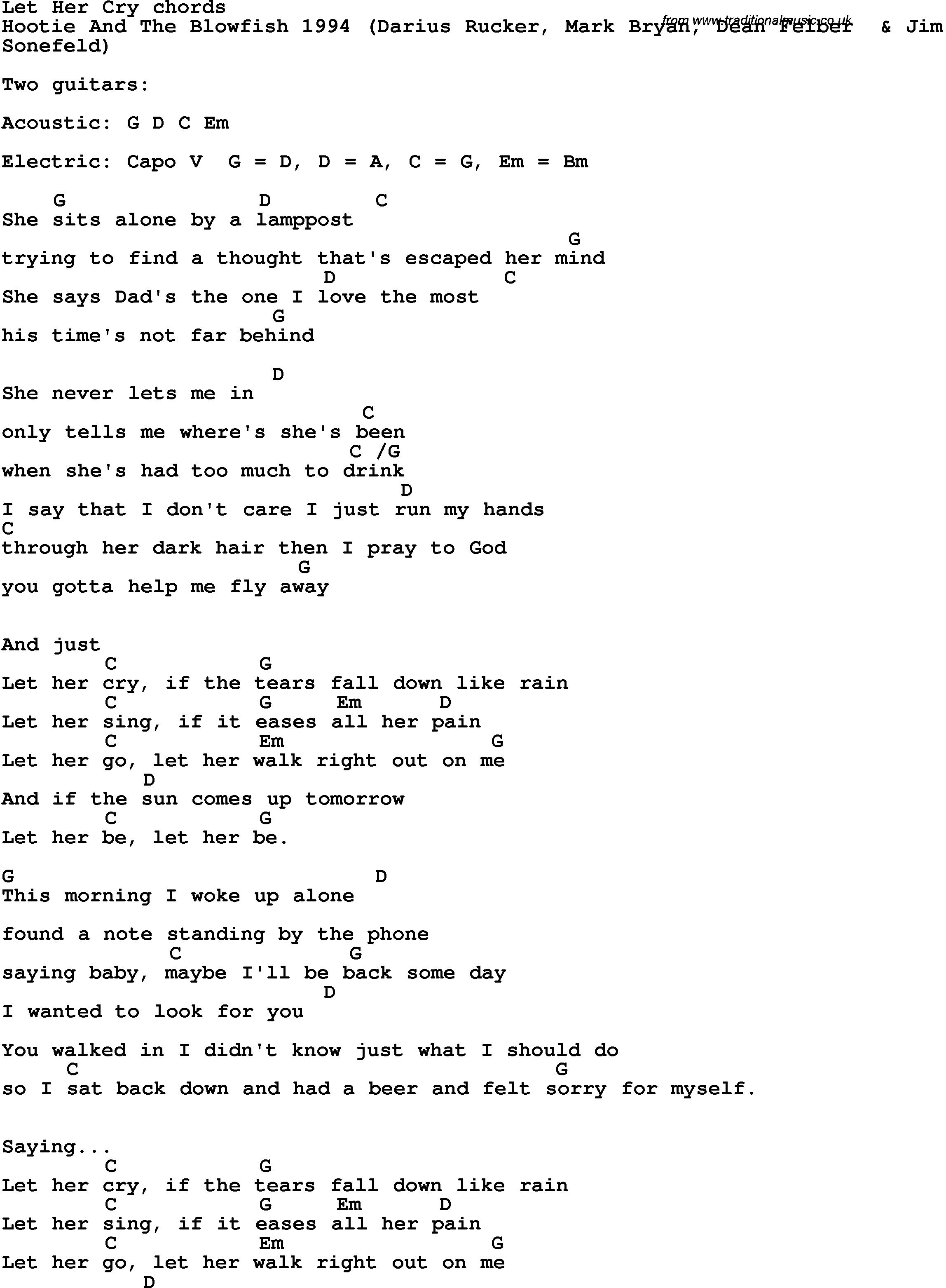 Song Lyrics With Guitar Chords For Let Her Cry