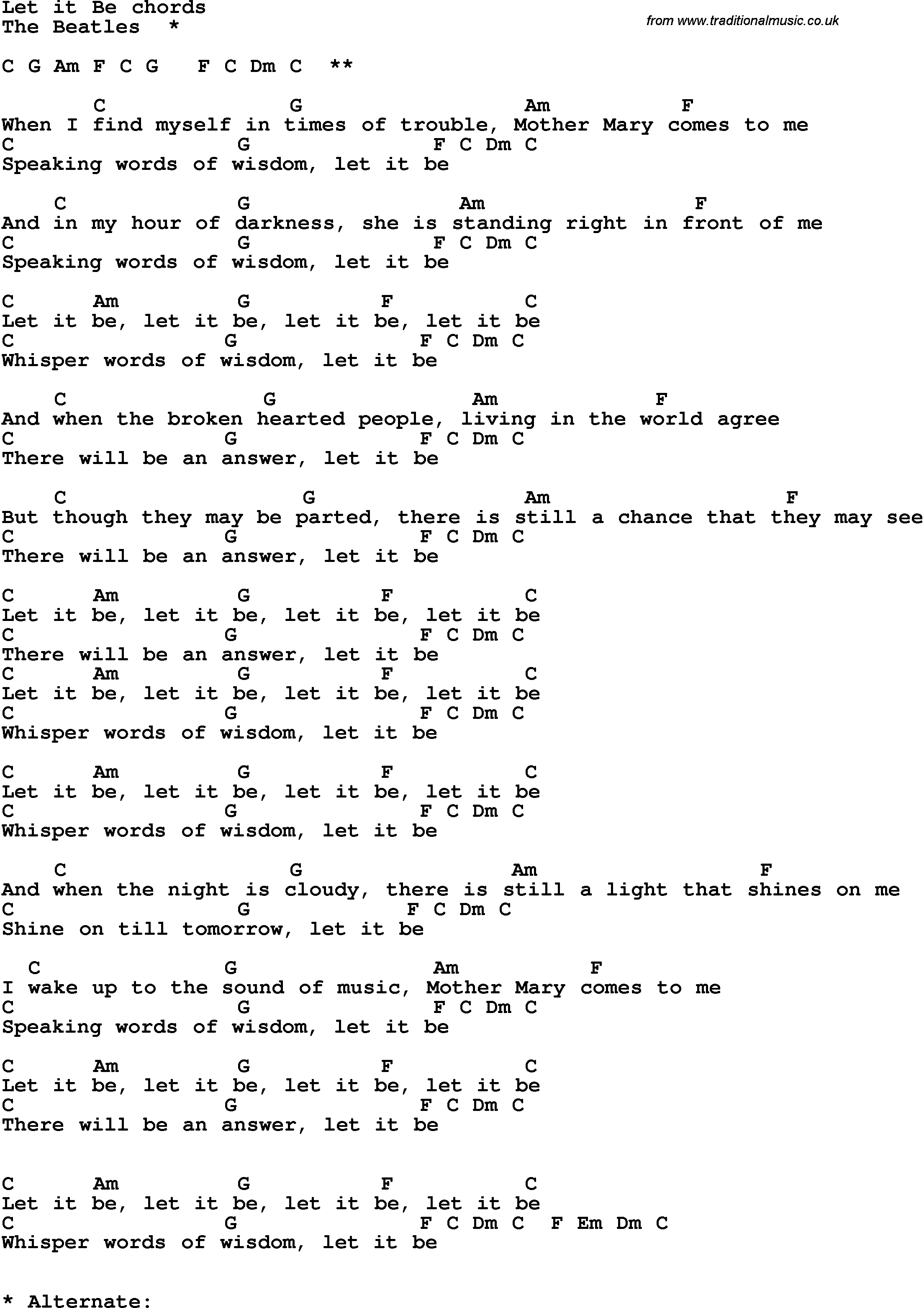 Song lyrics with guitar chords for let it be the beatles song lyrics with guitar chords for let it be the beatles hexwebz Images