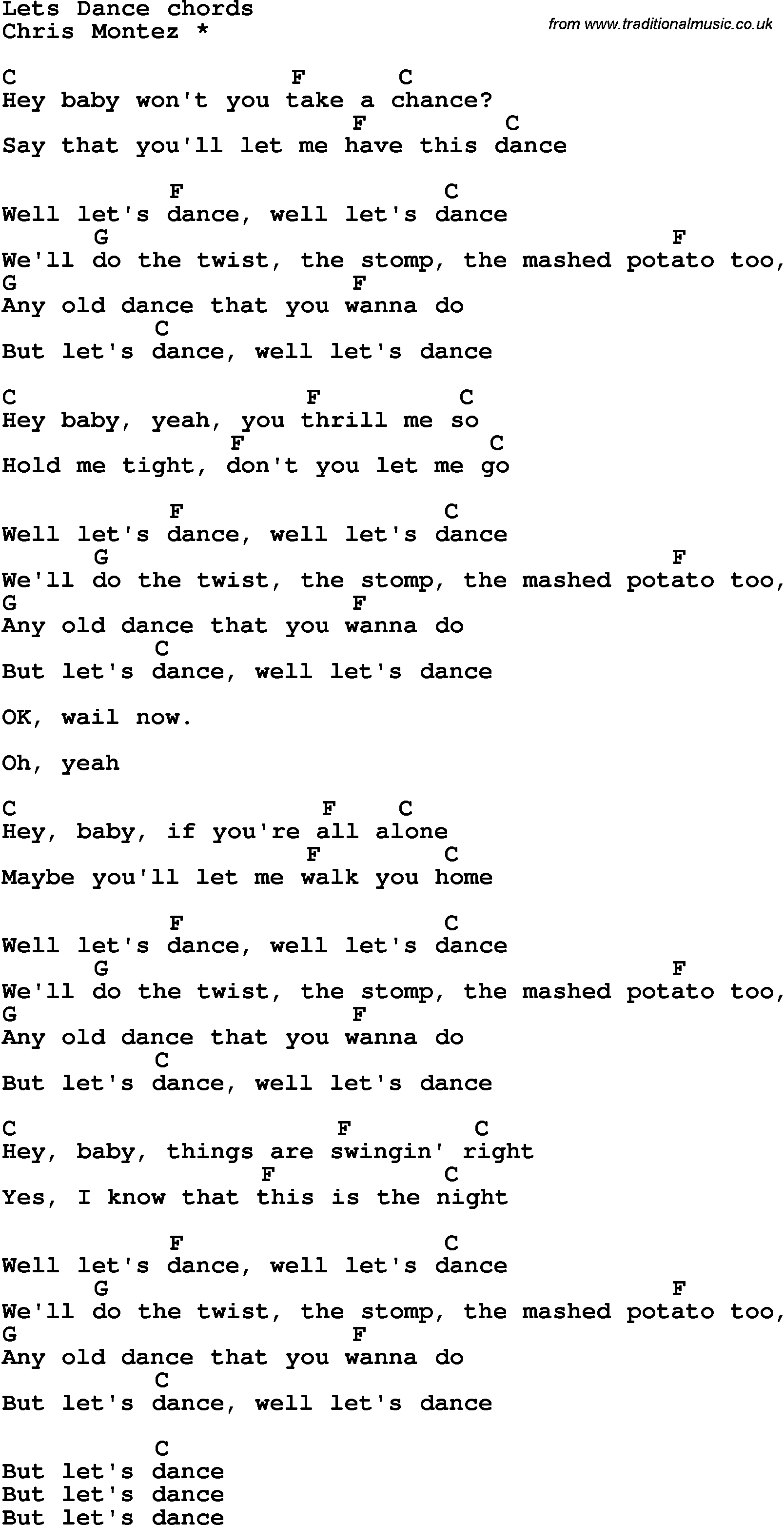Song Lyrics With Guitar Chords For Lets Dance