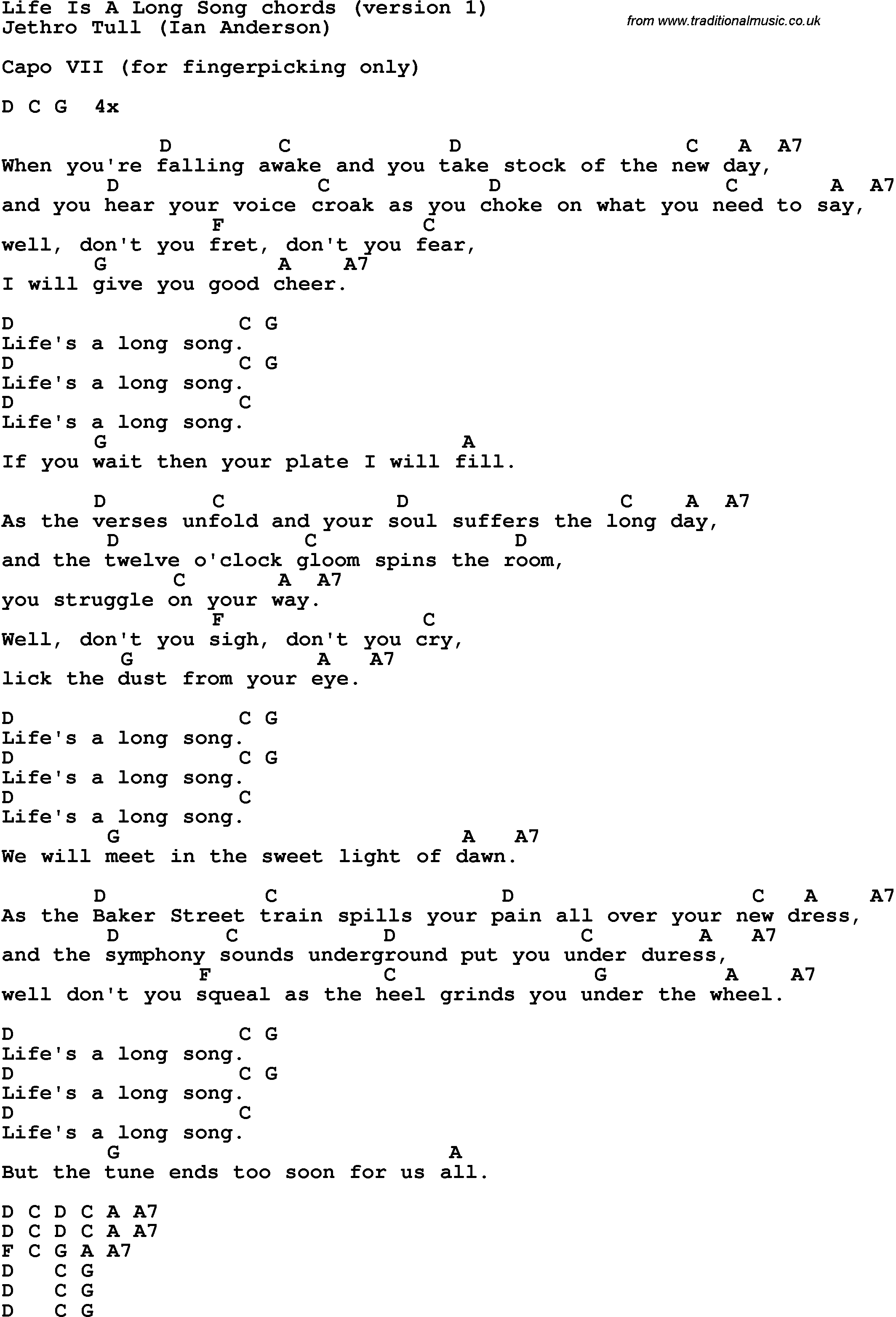 Song Lyrics With Guitar Chords For Life Is A Long Song