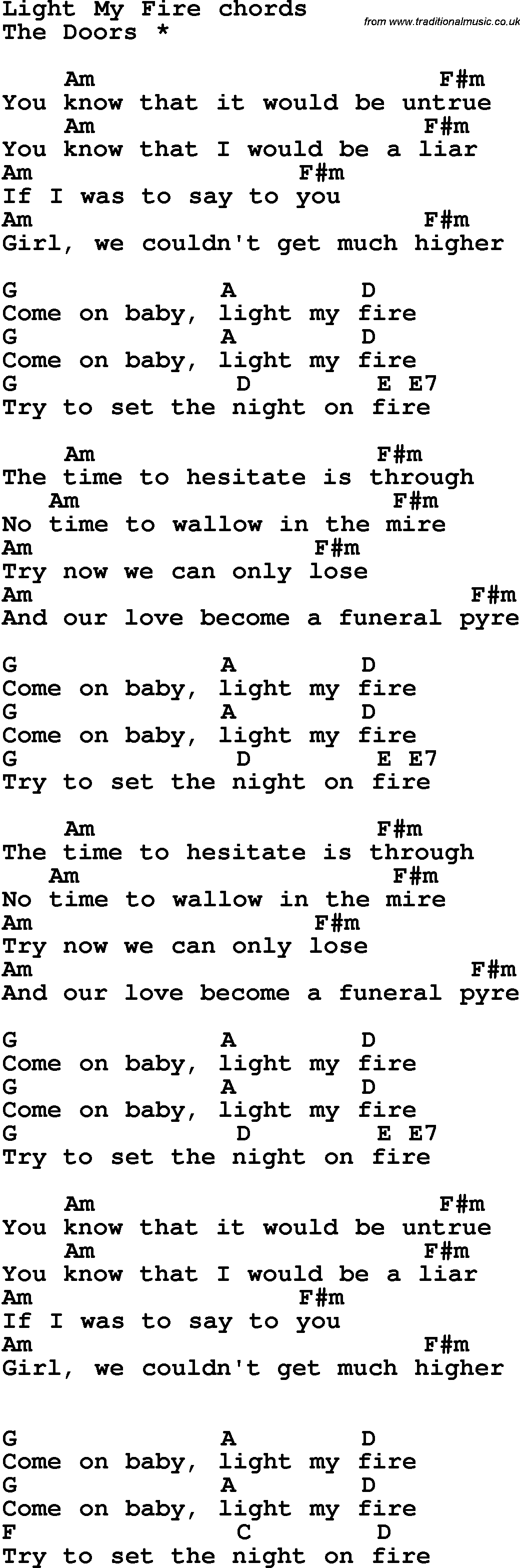 Song lyrics with guitar chords for light my fire song lyrics with guitar chords for light my fire hexwebz Gallery