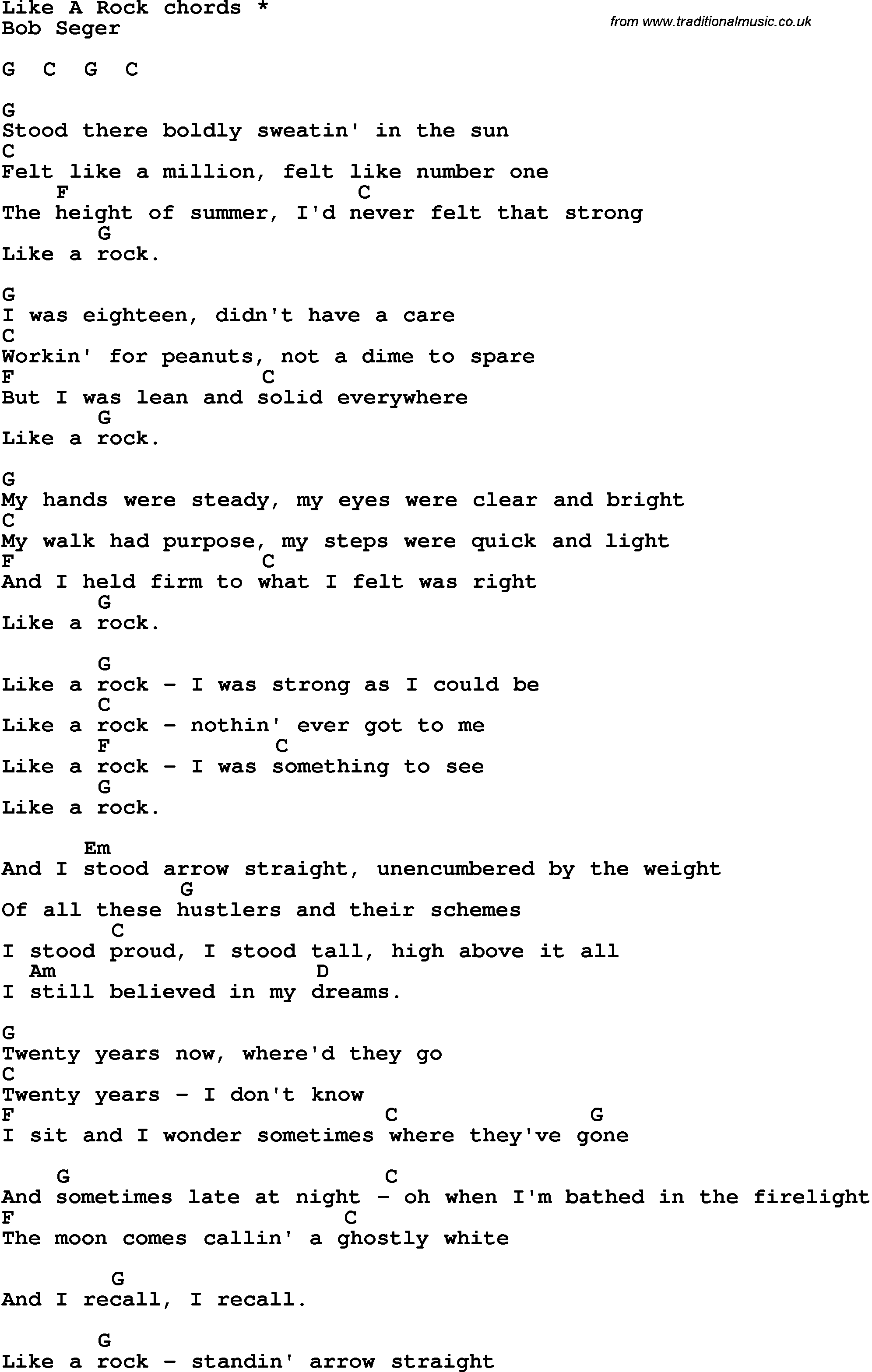 Song lyrics with guitar chords for Like A Rock