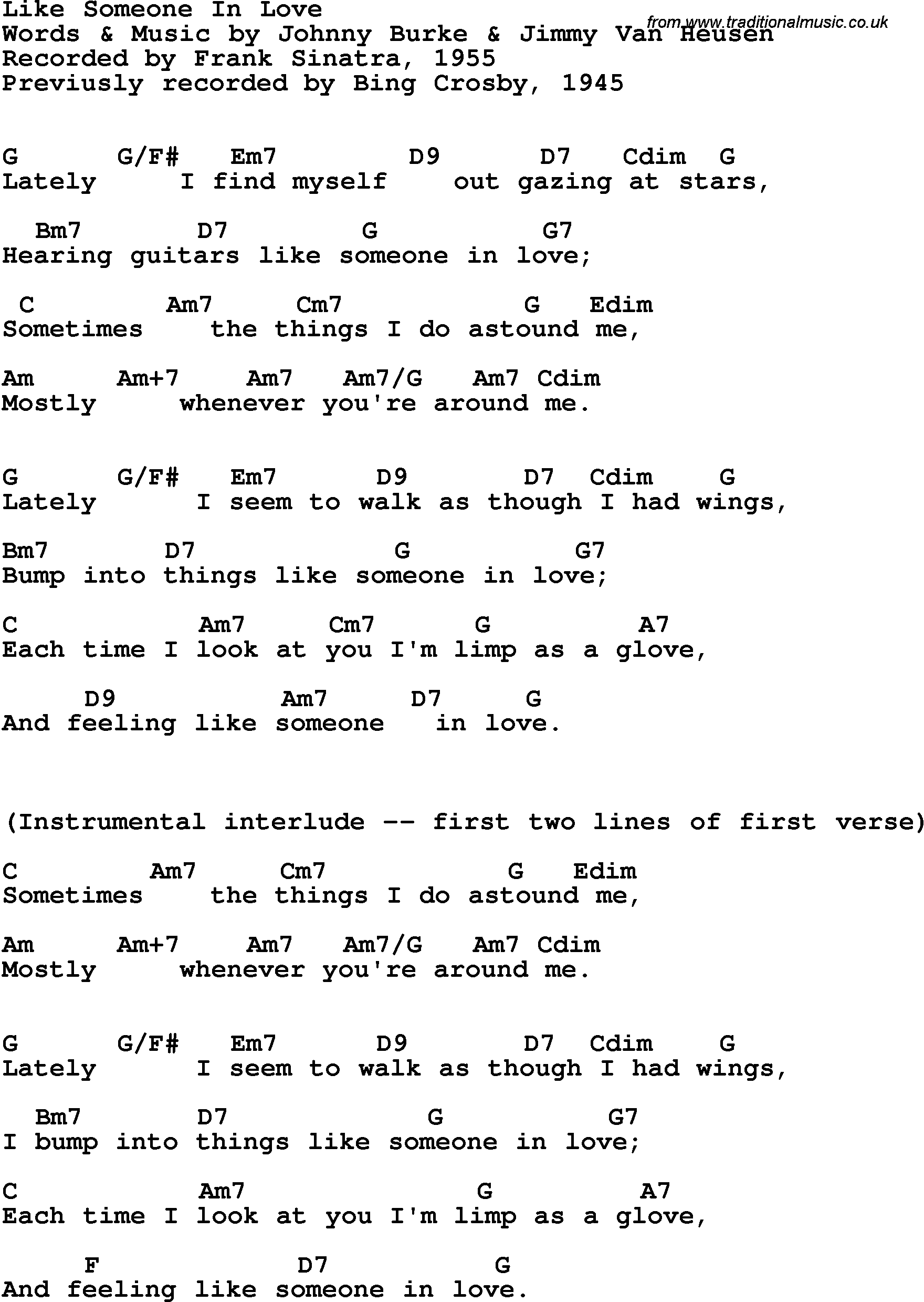 Song Lyrics With Guitar Chords For Like Someone In Love