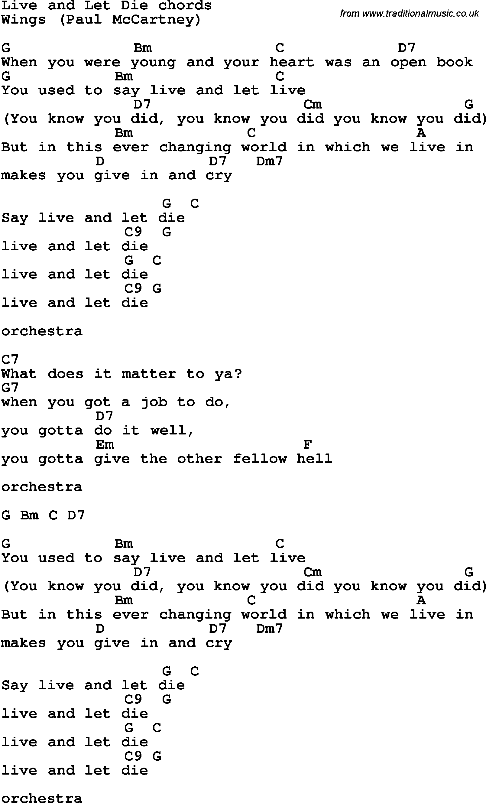 Song lyrics with guitar chords for liveand let die song lyrics with guitar chords for liveand let die hexwebz Image collections