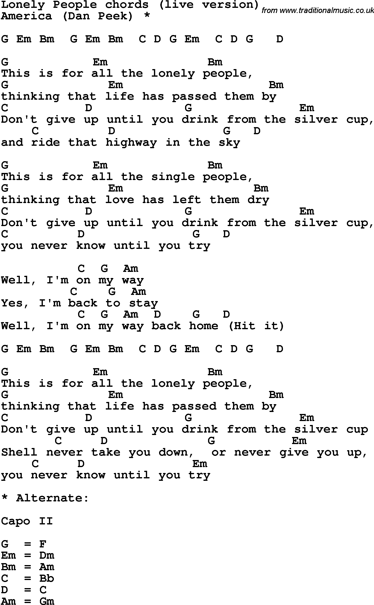 Song lyrics with guitar chords for Lonely People
