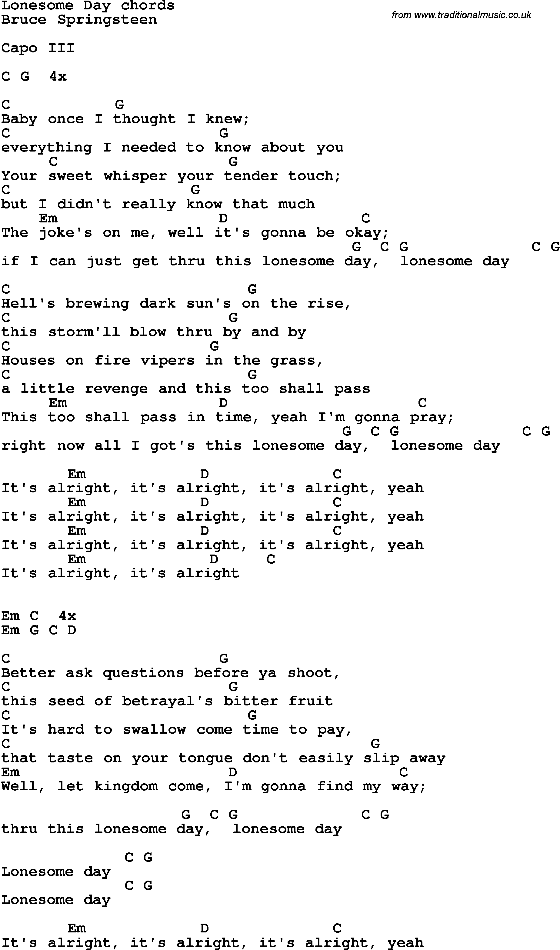Song lyrics with guitar chords for lonesome day song lyrics with guitar chords for lonesome day hexwebz Images