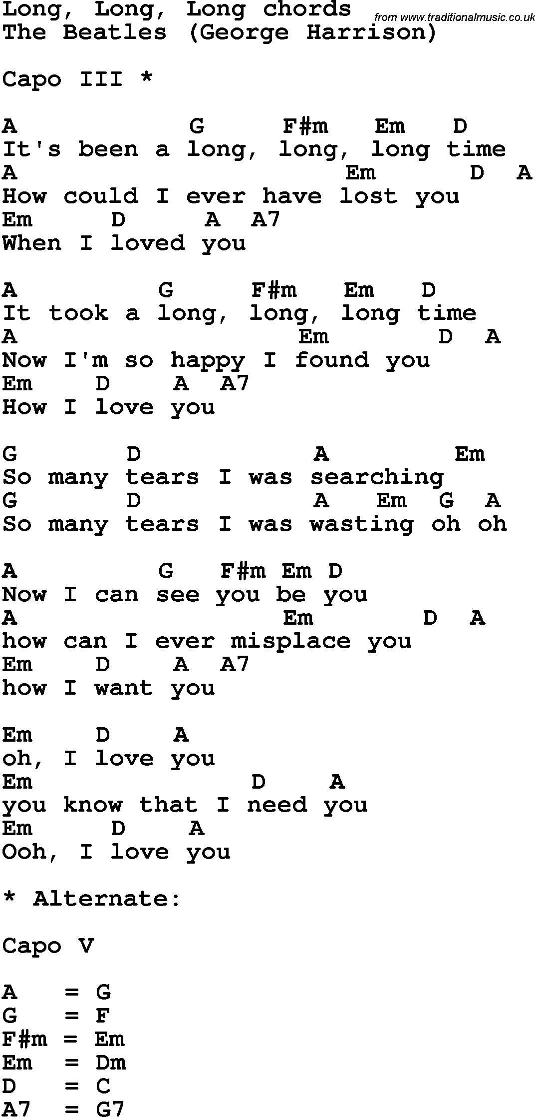 Song lyrics with guitar chords for long long long the beatles song lyrics with guitar chords for long long long the beatles hexwebz Images