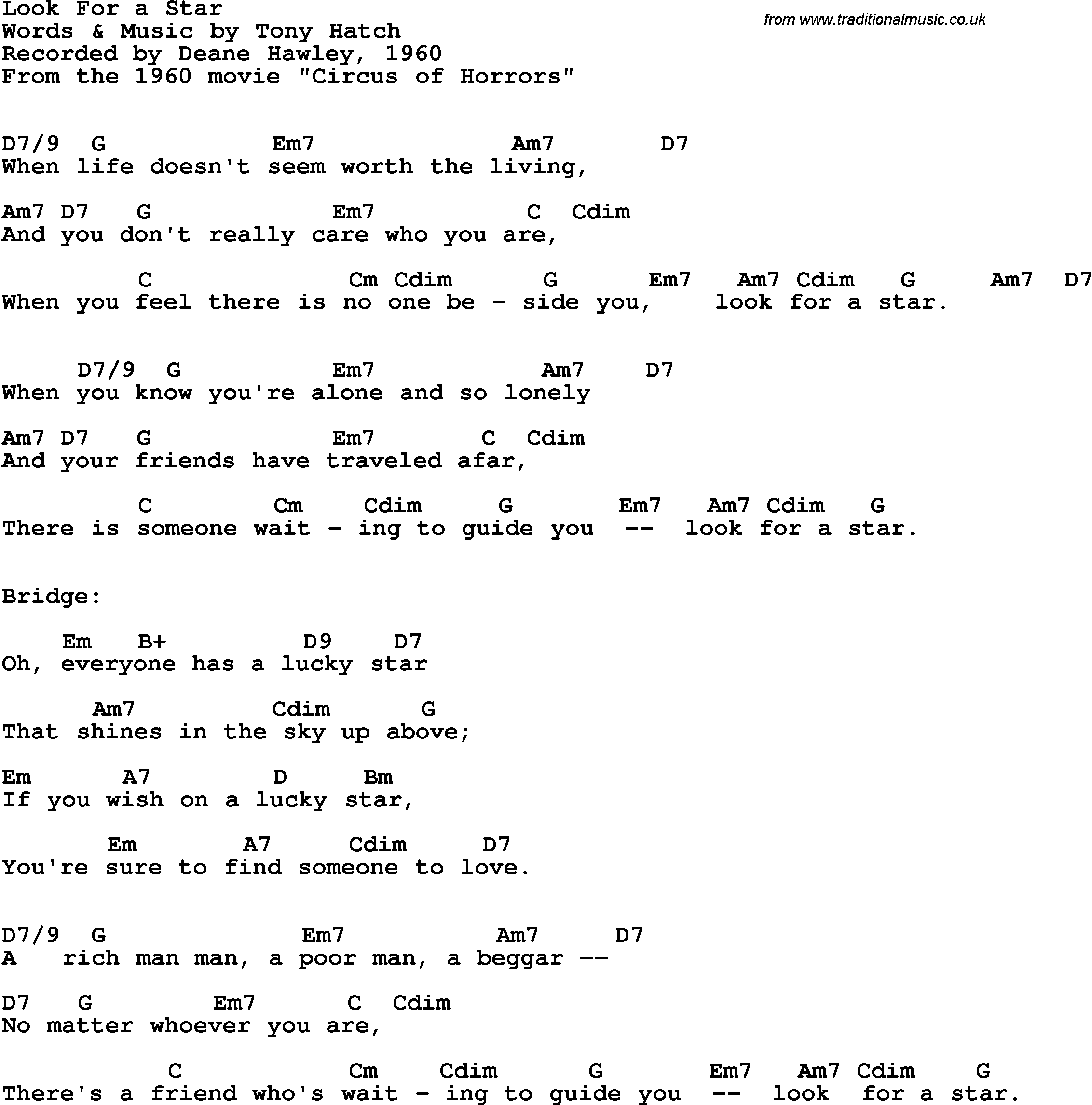 Song lyrics with guitar chords for look for a star deane hawley song lyrics with guitar chords for look for a star deane hawley 1960 hexwebz Image collections
