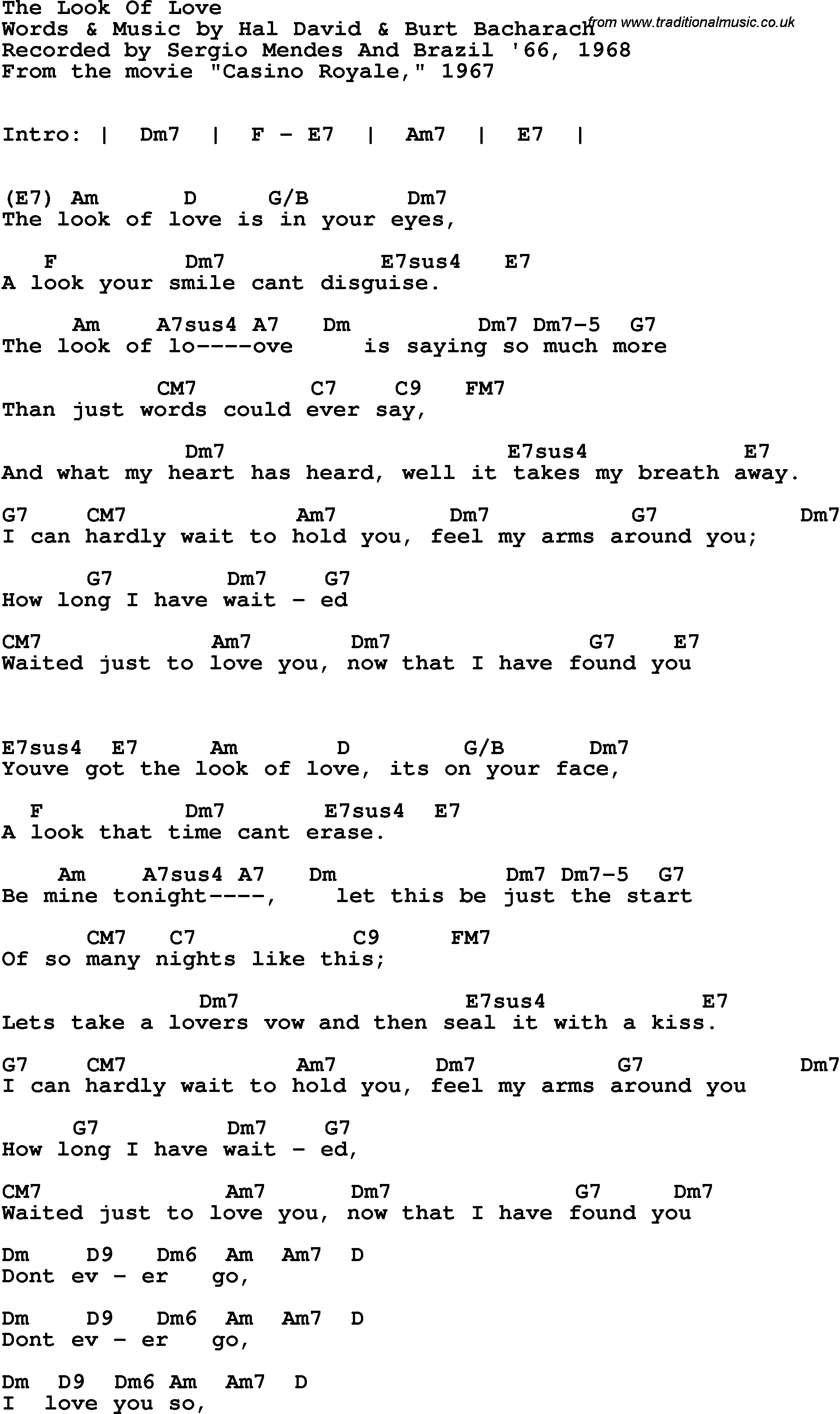 Song lyrics with guitar chords for Look Of Love - The - Sergio Mendes u0026 Brazil u0026#39;66, 1968