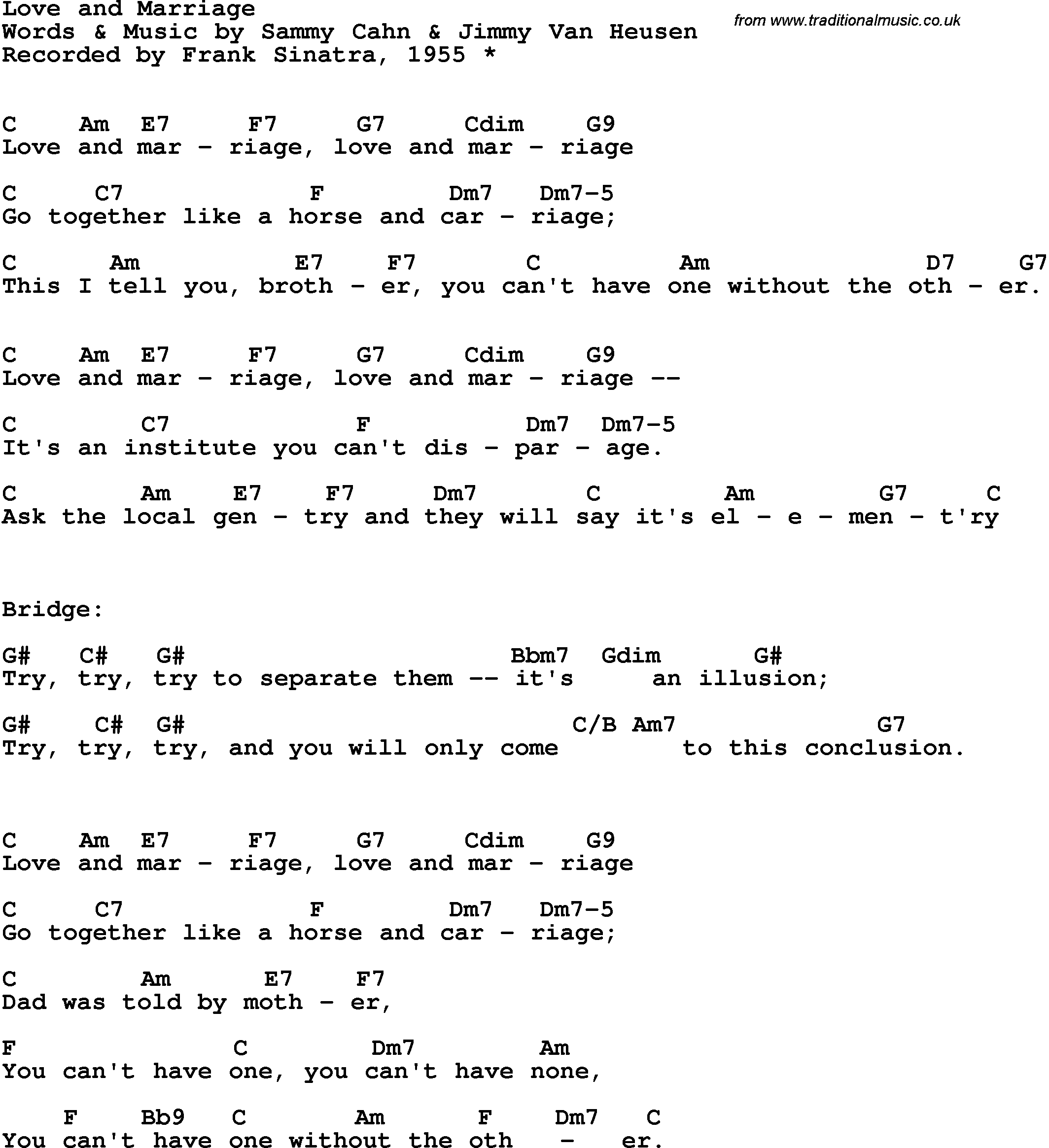 Song Lyrics With Guitar Chords For Love And Marriage Frank Sinatra