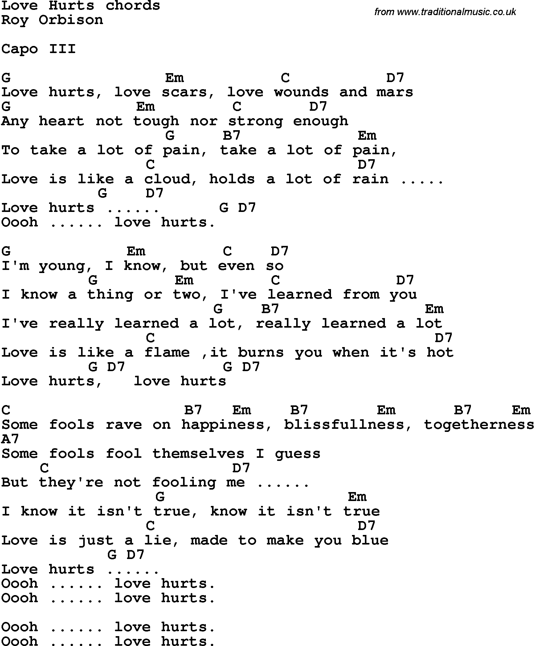 Song Lyrics With Guitar Chords For Love Hurts Roy Orbison
