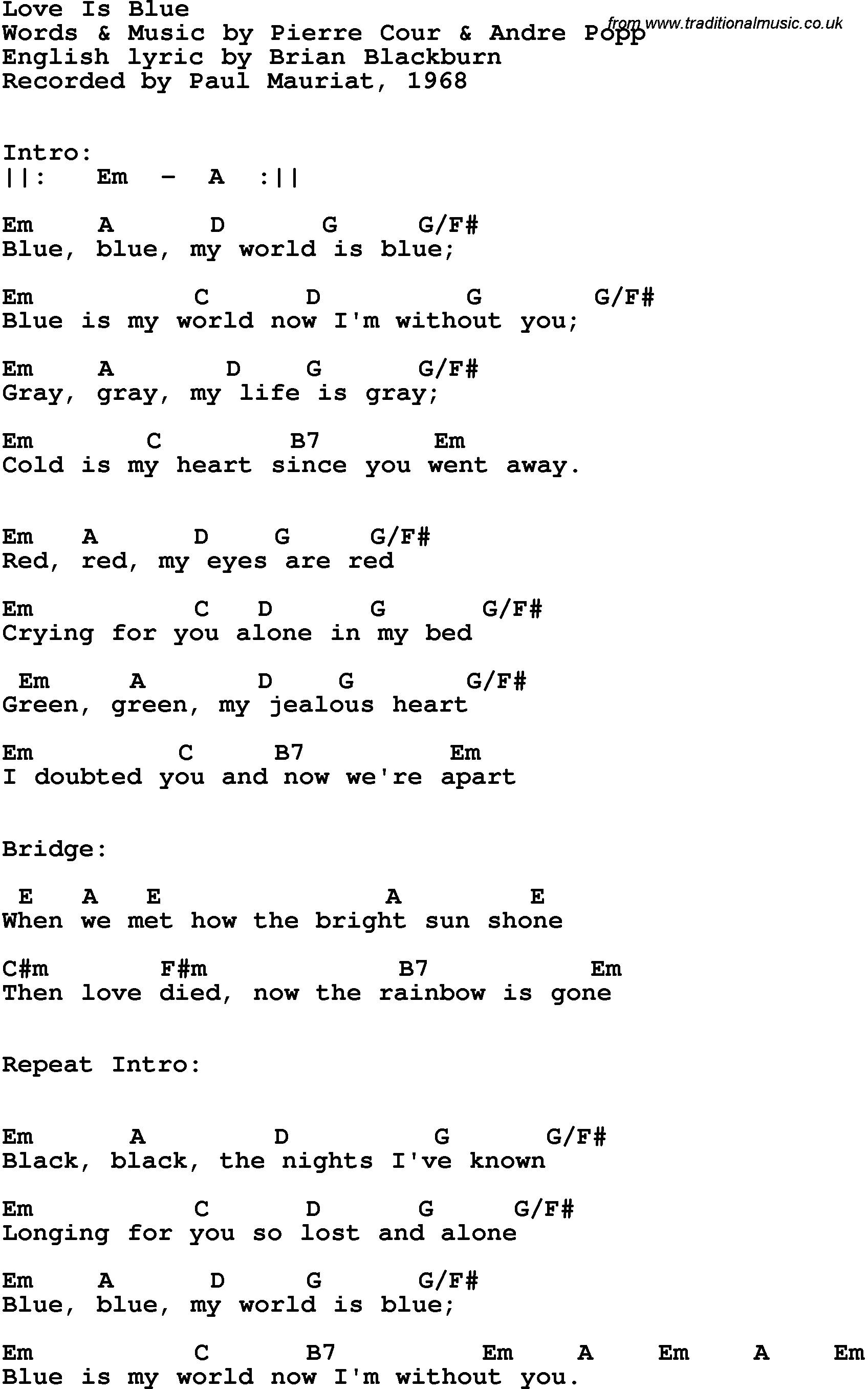 Song lyrics with guitar chords for love is blue paul mauriat 1968 song lyrics with guitar chords for love is blue paul mauriat 1968 hexwebz Images