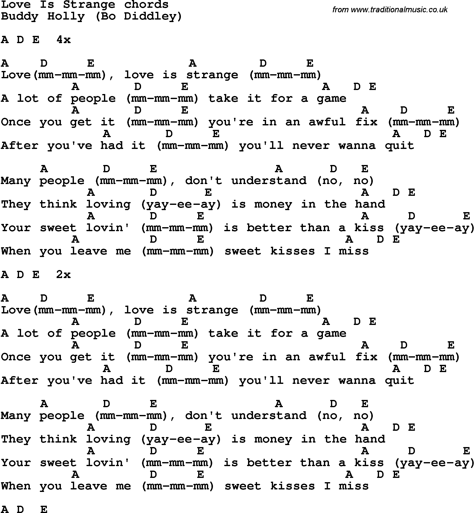 Song Lyrics With Guitar Chords For Love Is Strange Buddy Holly