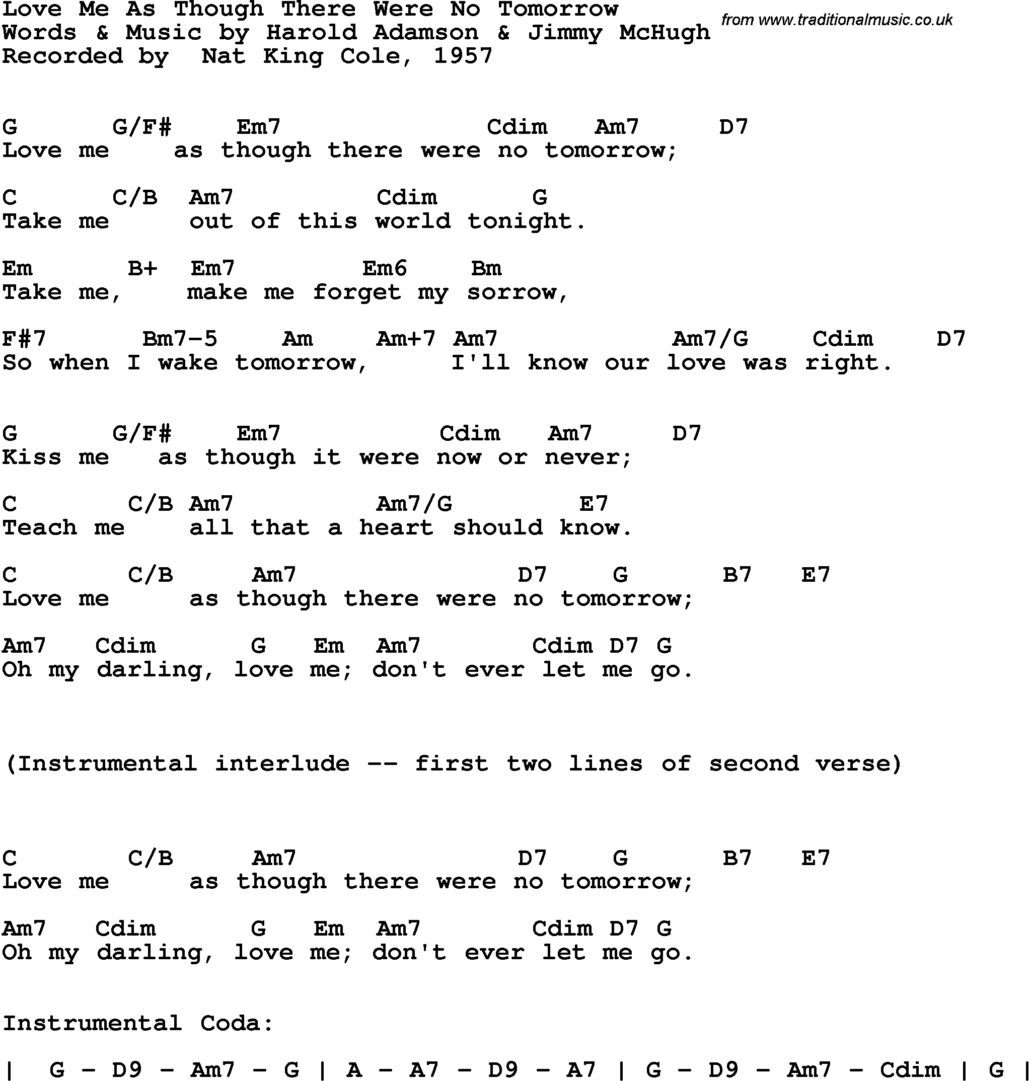 Song lyrics with guitar chords for love me as though there were no song lyrics with guitar chords for love me as though there were no tomorrow nat hexwebz Gallery