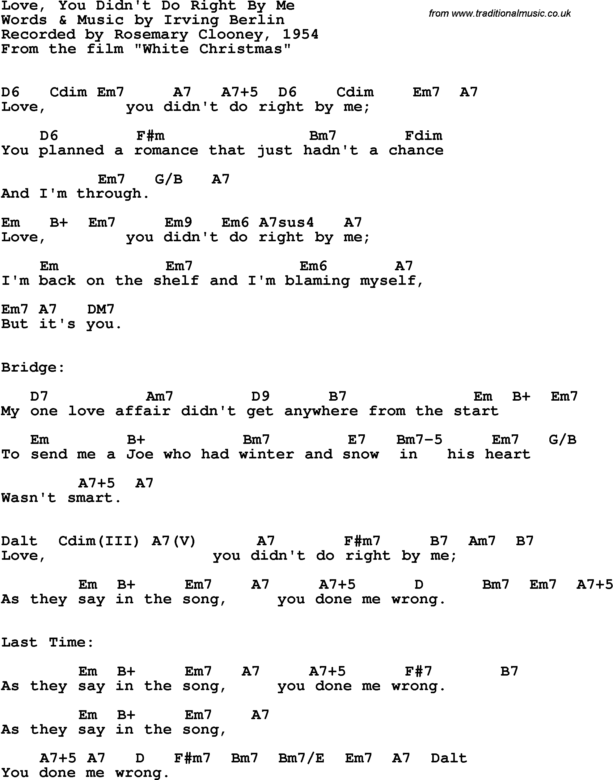 Song Lyrics With Guitar Chords For Love You Didnt Do Right By Me