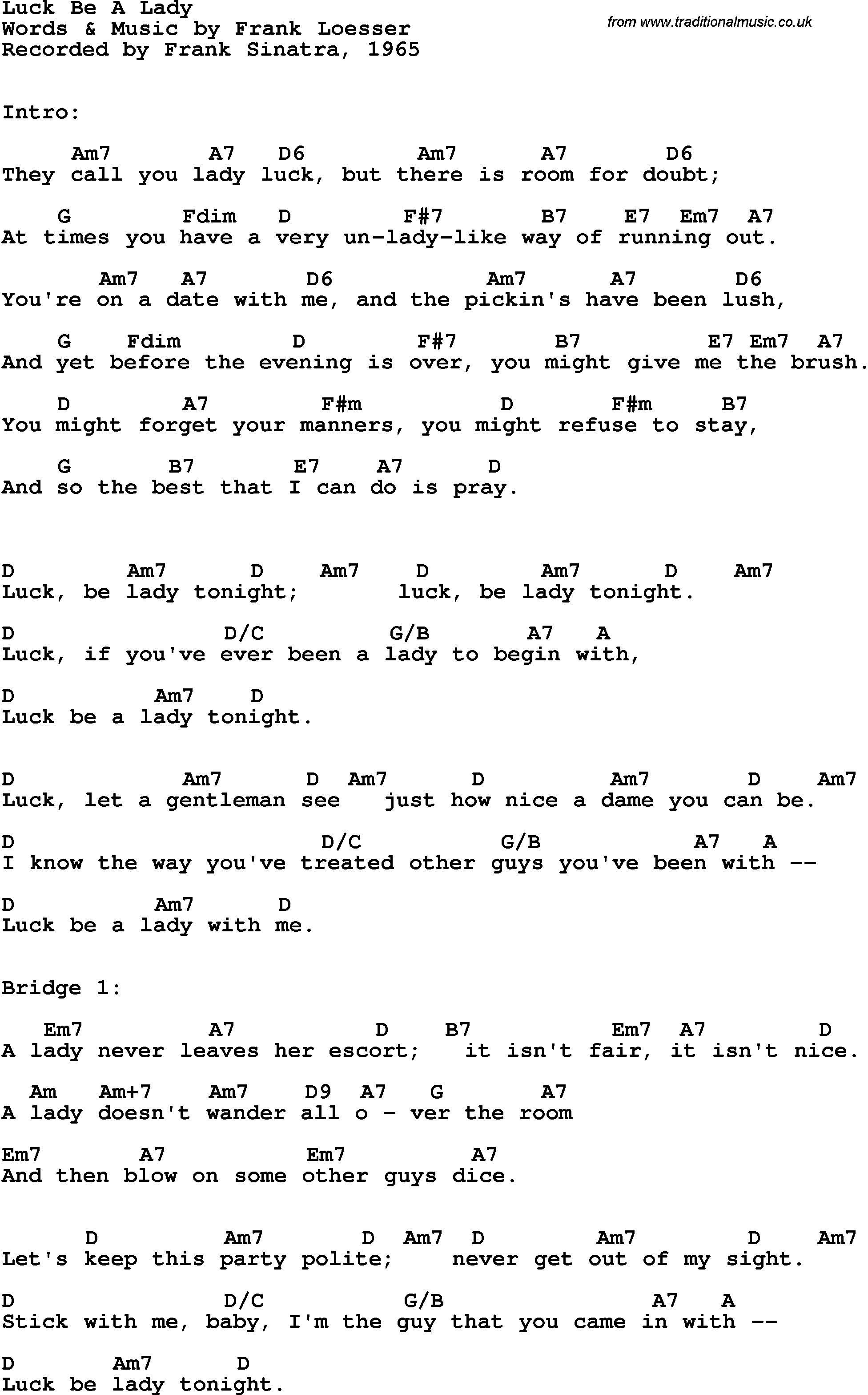 Song Lyrics With Guitar Chords For Luck Be A Lady Frank Sinatra 1965