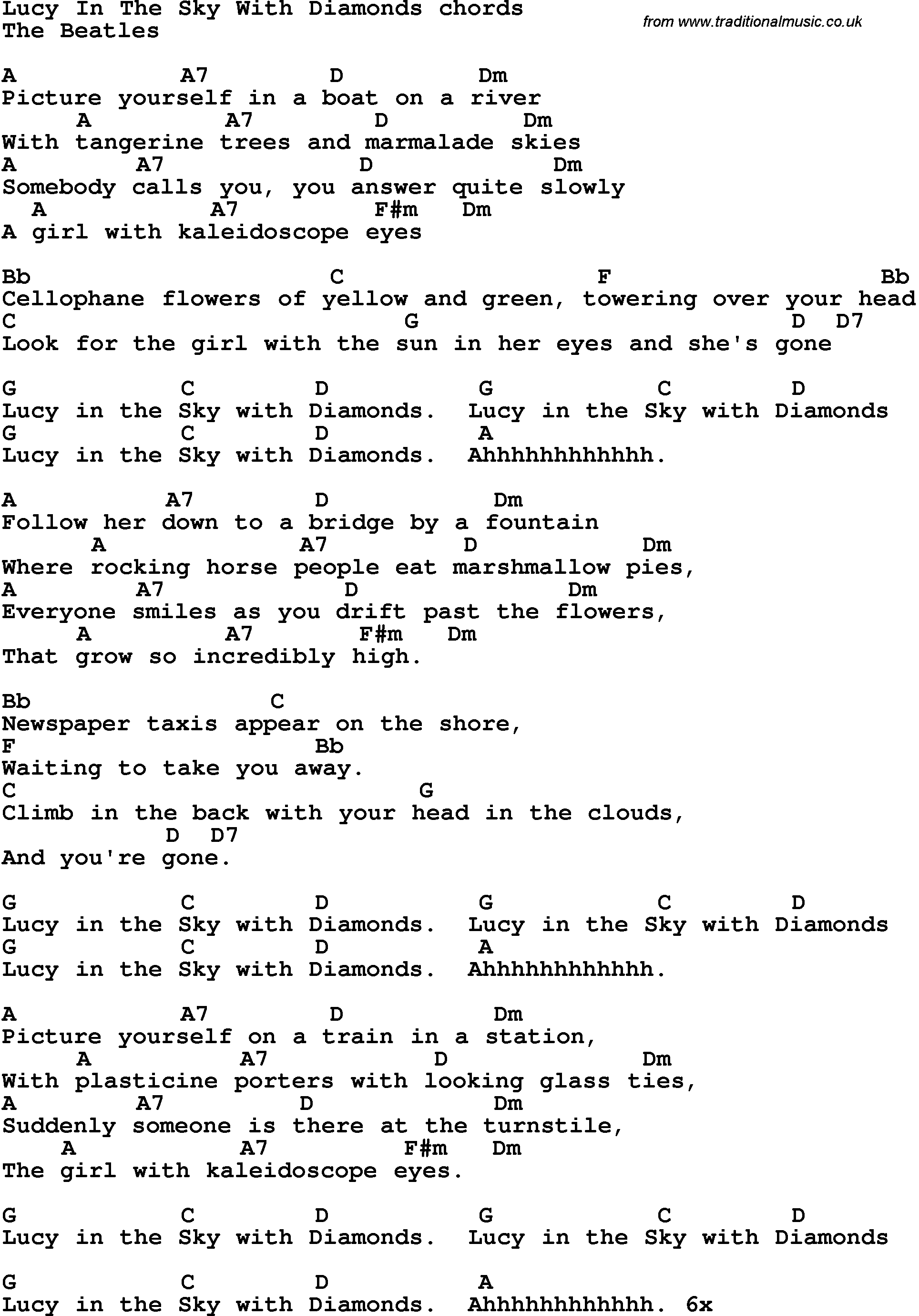 Lucy Guitar Chords Song Lyrics With Guitar Chords