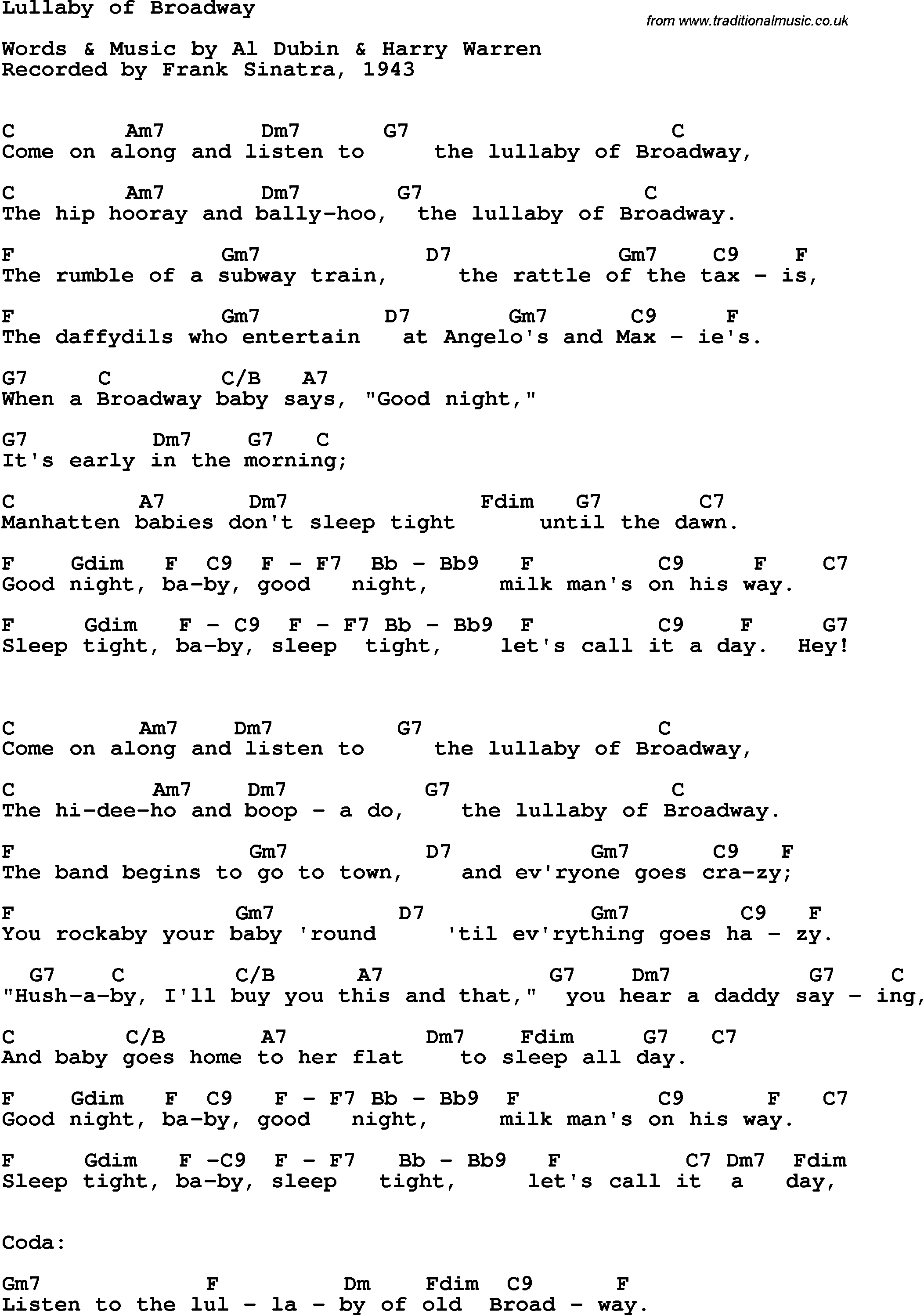 Song Lyrics With Guitar Chords For Lullaby Of Broadway Frank