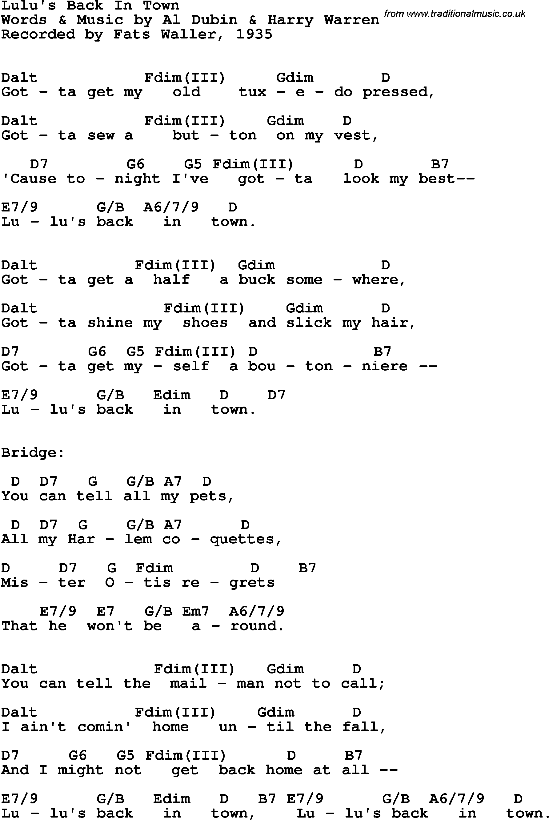 Song lyrics with guitar chords for lulus back in town fats song lyrics with guitar chords for lulus back in town fats waller 1935 hexwebz Choice Image