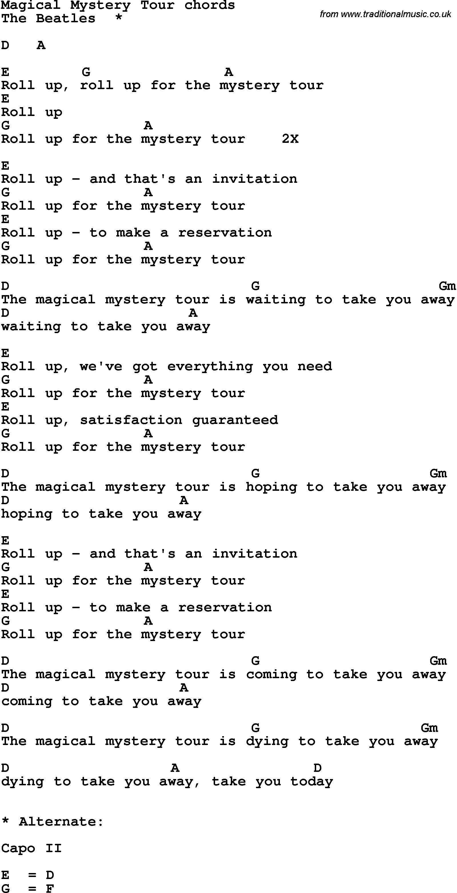 Beatles The Magical Mystery Tour Lyrics