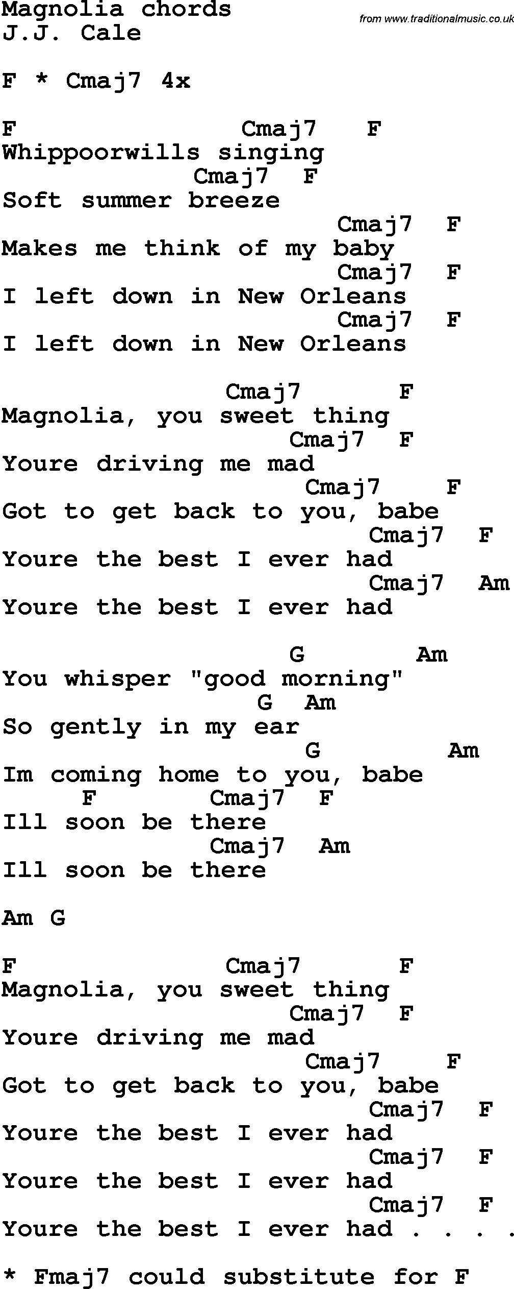 Song Lyrics With Guitar Chords For Magnolia