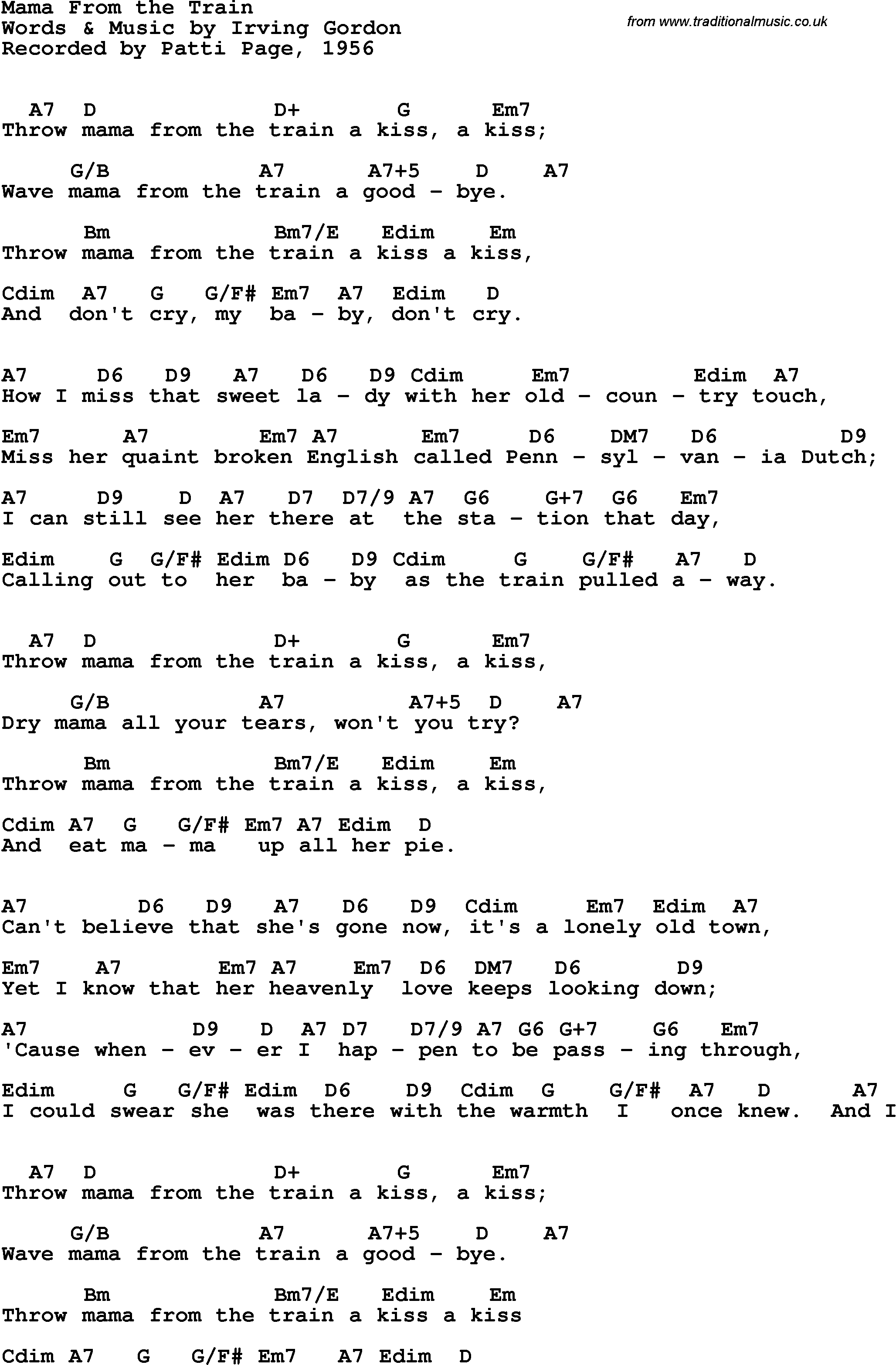 Song Lyrics With Guitar Chords For Mama From The Train Patti Page