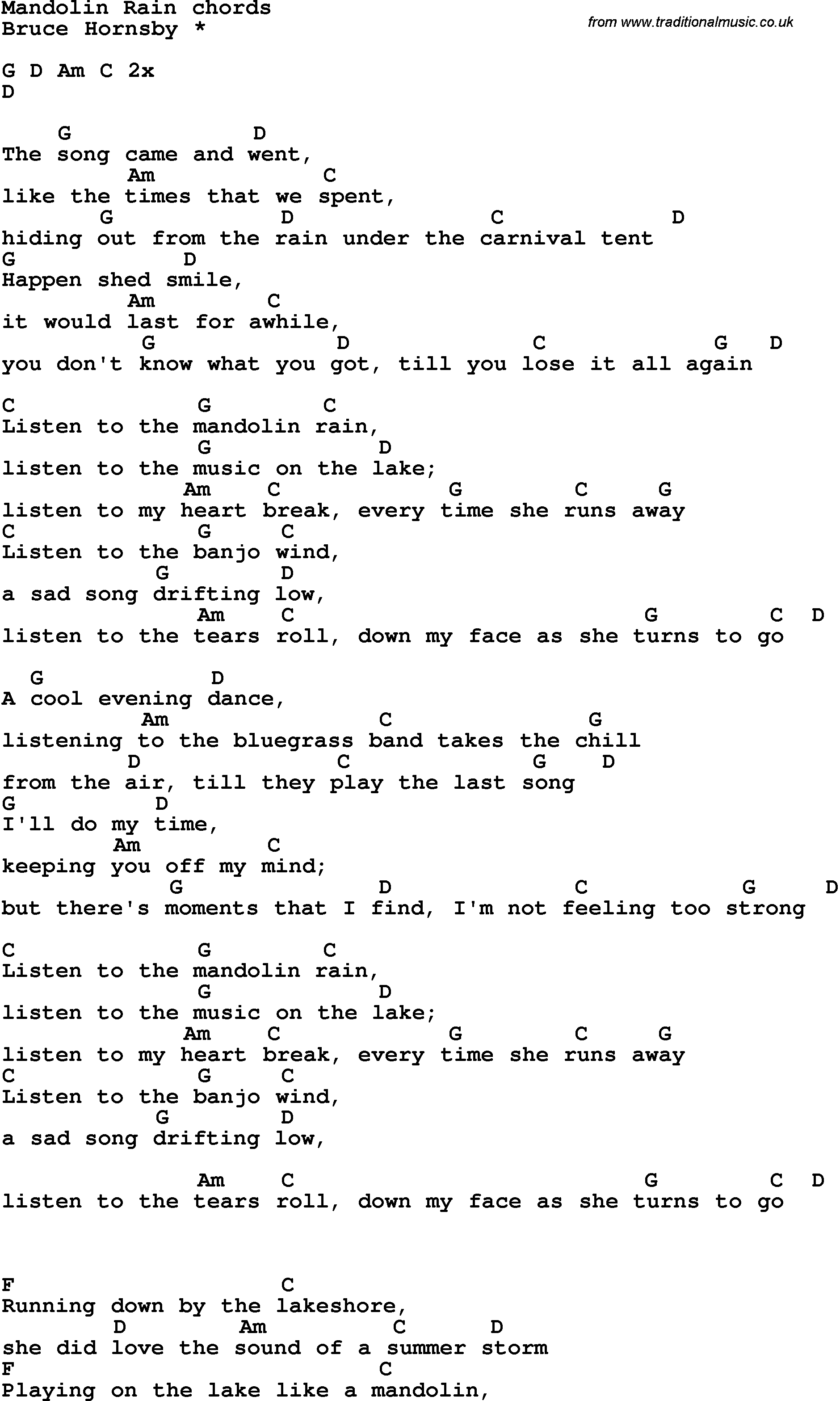 Song lyrics with guitar chords for Mandolin Rain