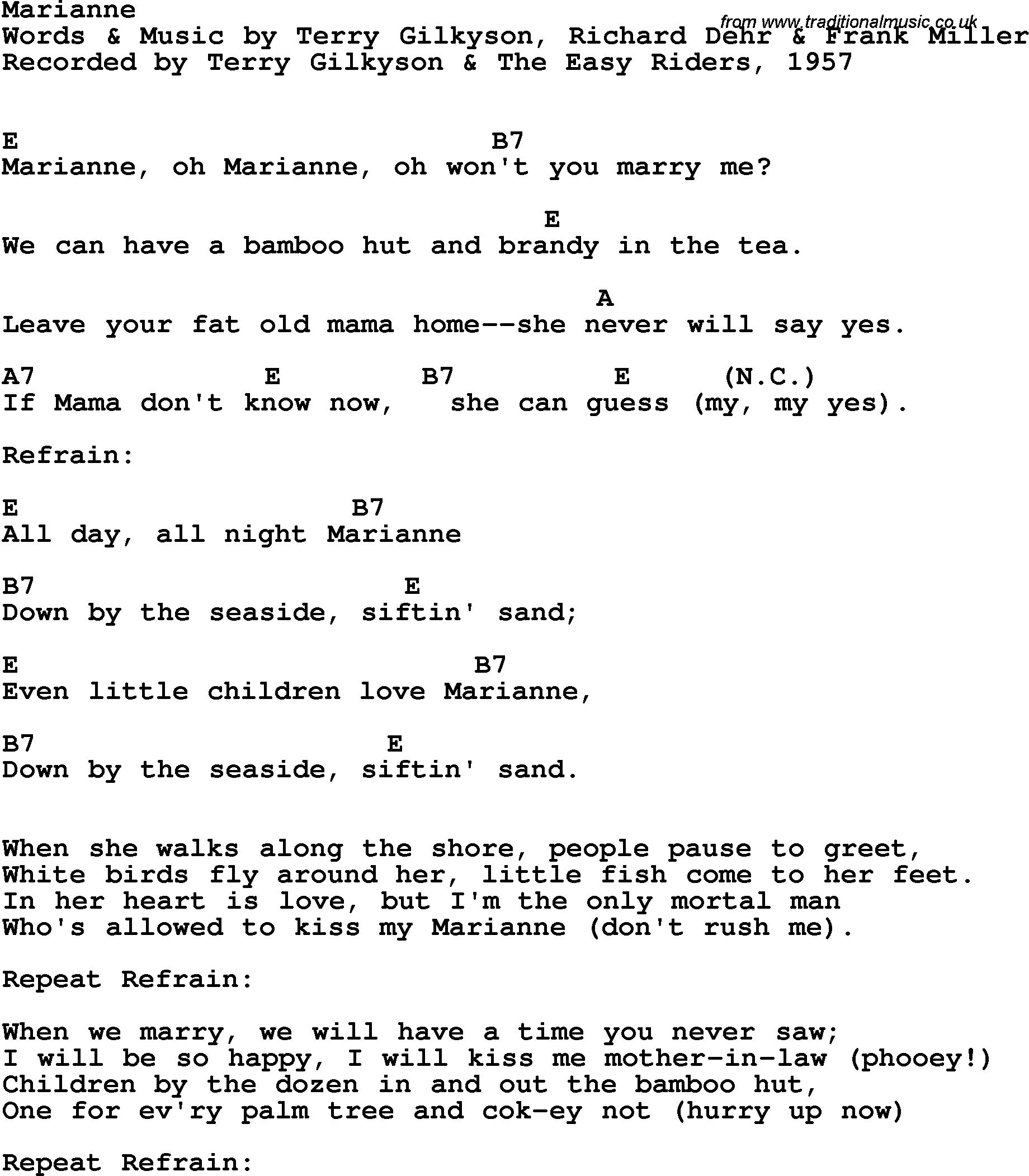 Song Lyrics With Guitar Chords For Marianne Terry Gilkyson The