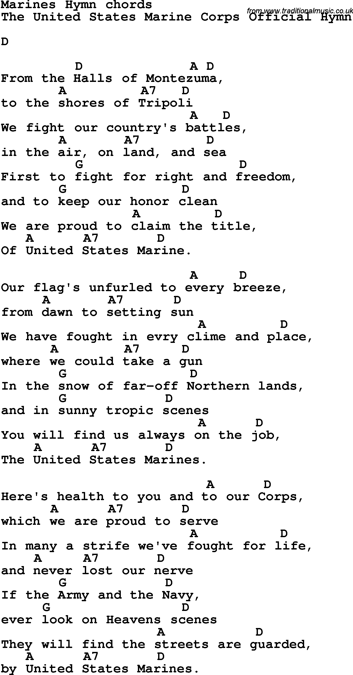Song Lyrics With Guitar Chords For Marines Hymn