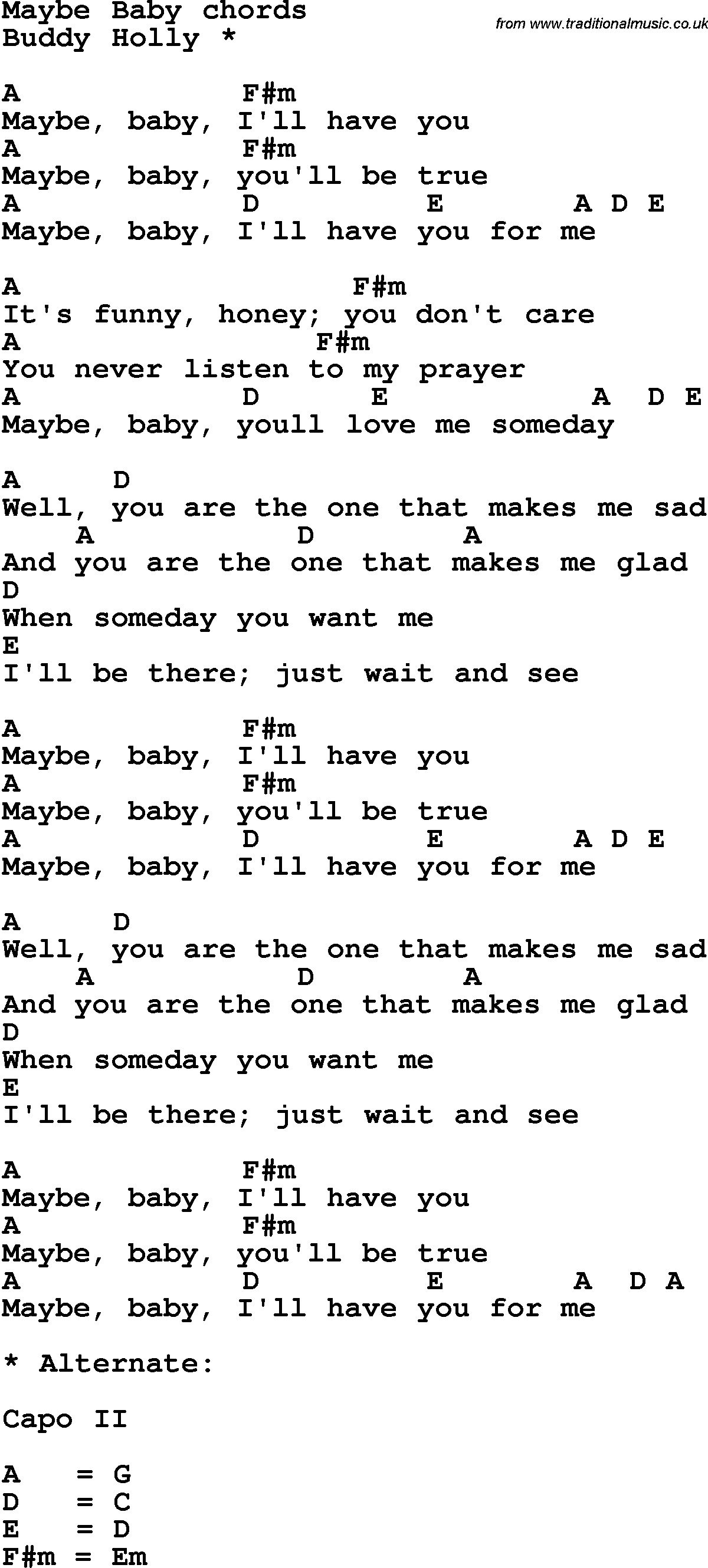 Song lyrics with guitar chords for maybe baby song lyrics with guitar chords for maybe baby hexwebz Images