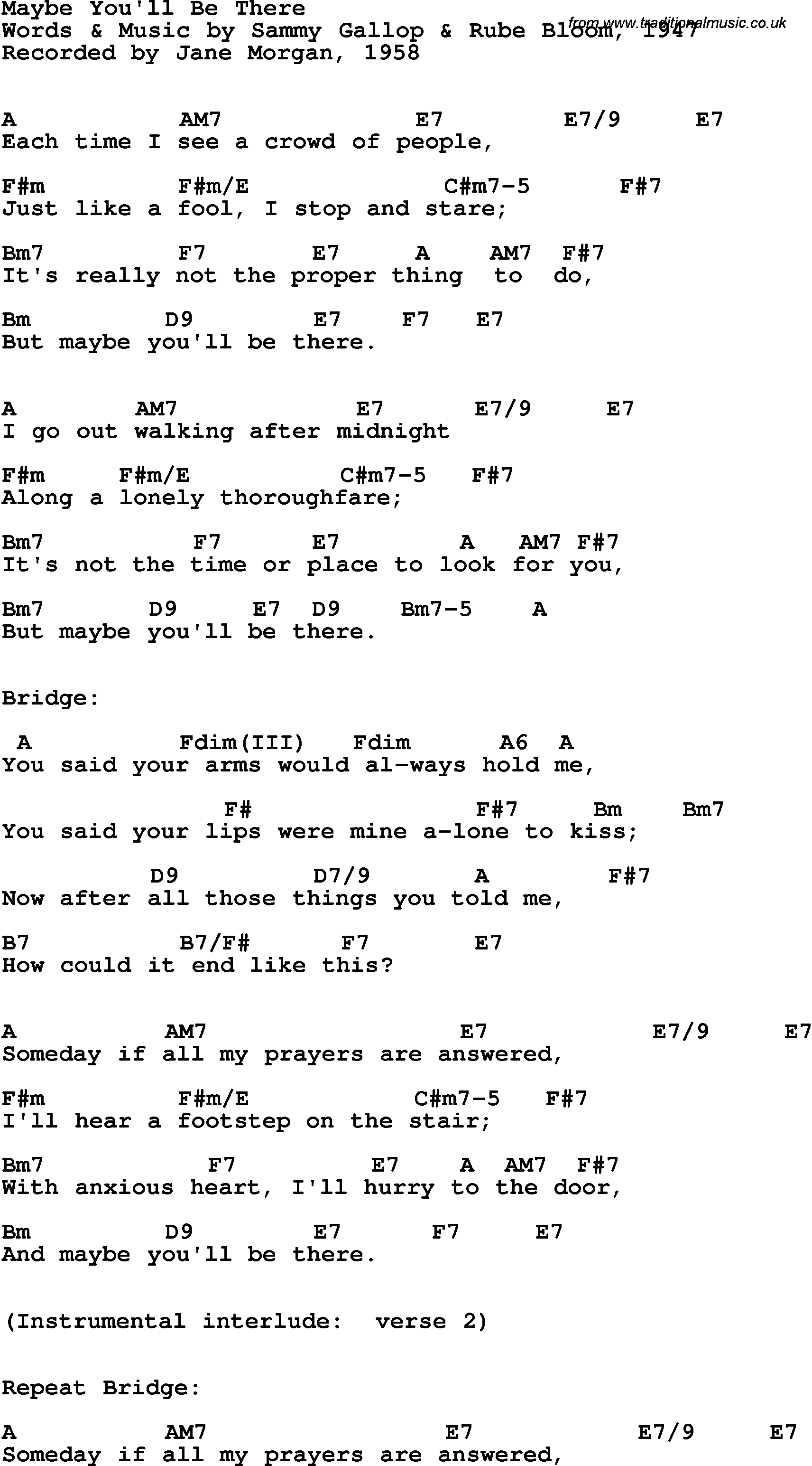 Song Lyrics With Guitar Chords For Maybe Youll Be There Jane