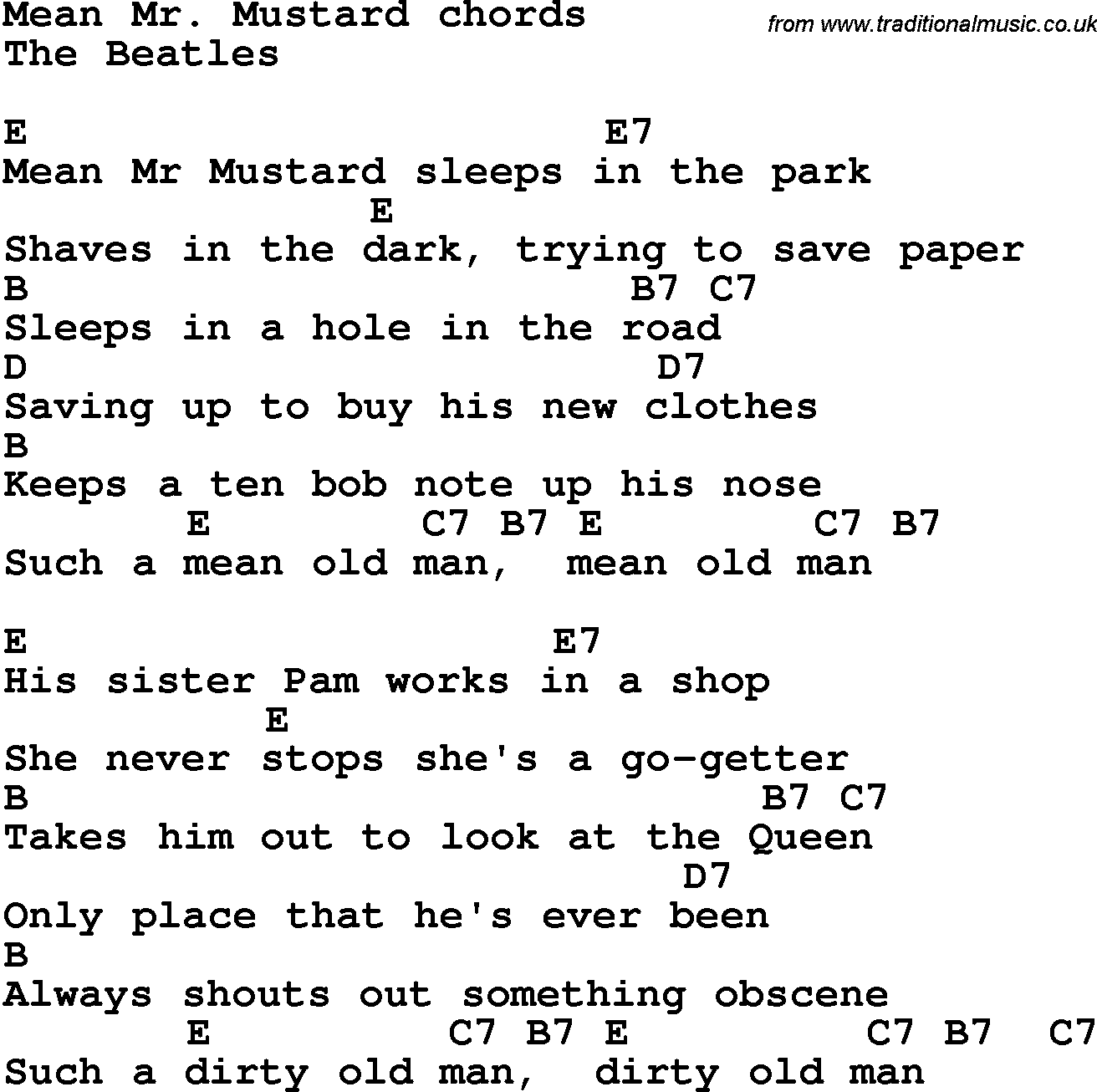 Song Lyrics With Guitar Chords For Mean Mr Mustard