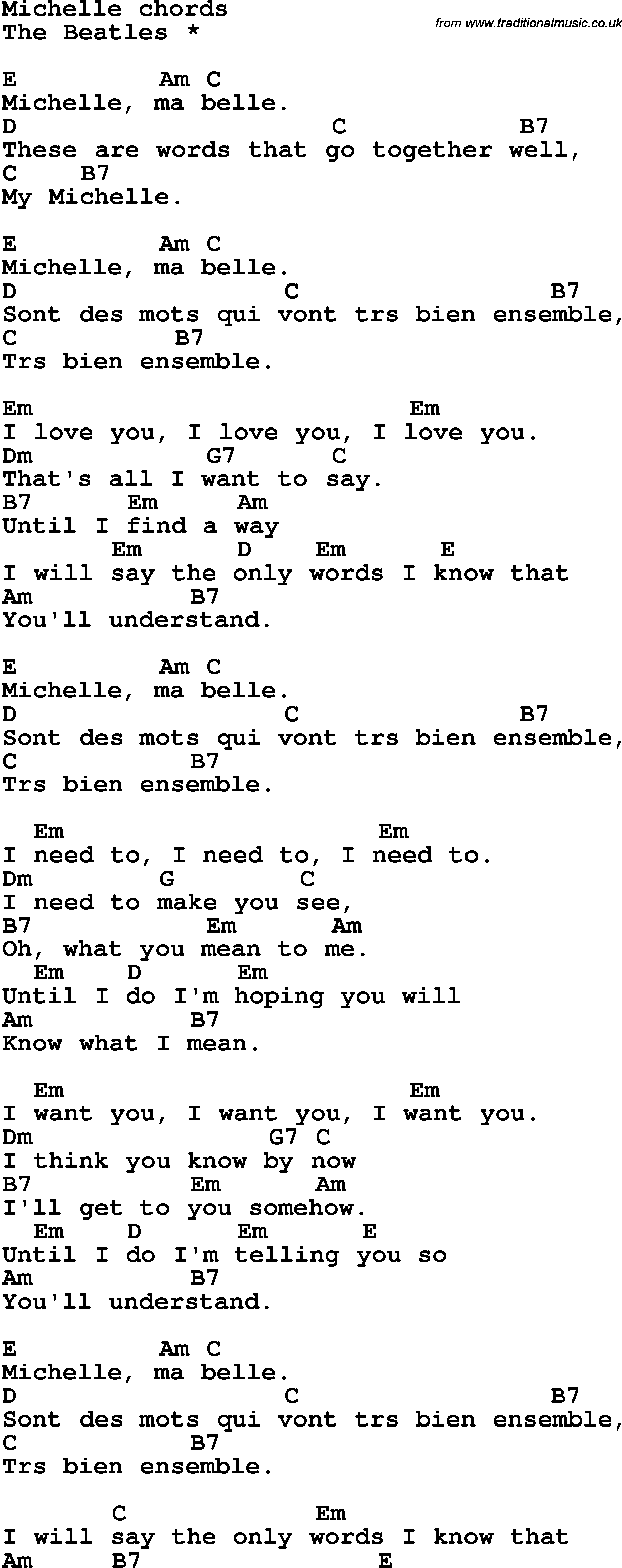 Song lyrics with guitar chords for michelle the beatles song lyrics with guitar chords for michelle the beatles hexwebz Images