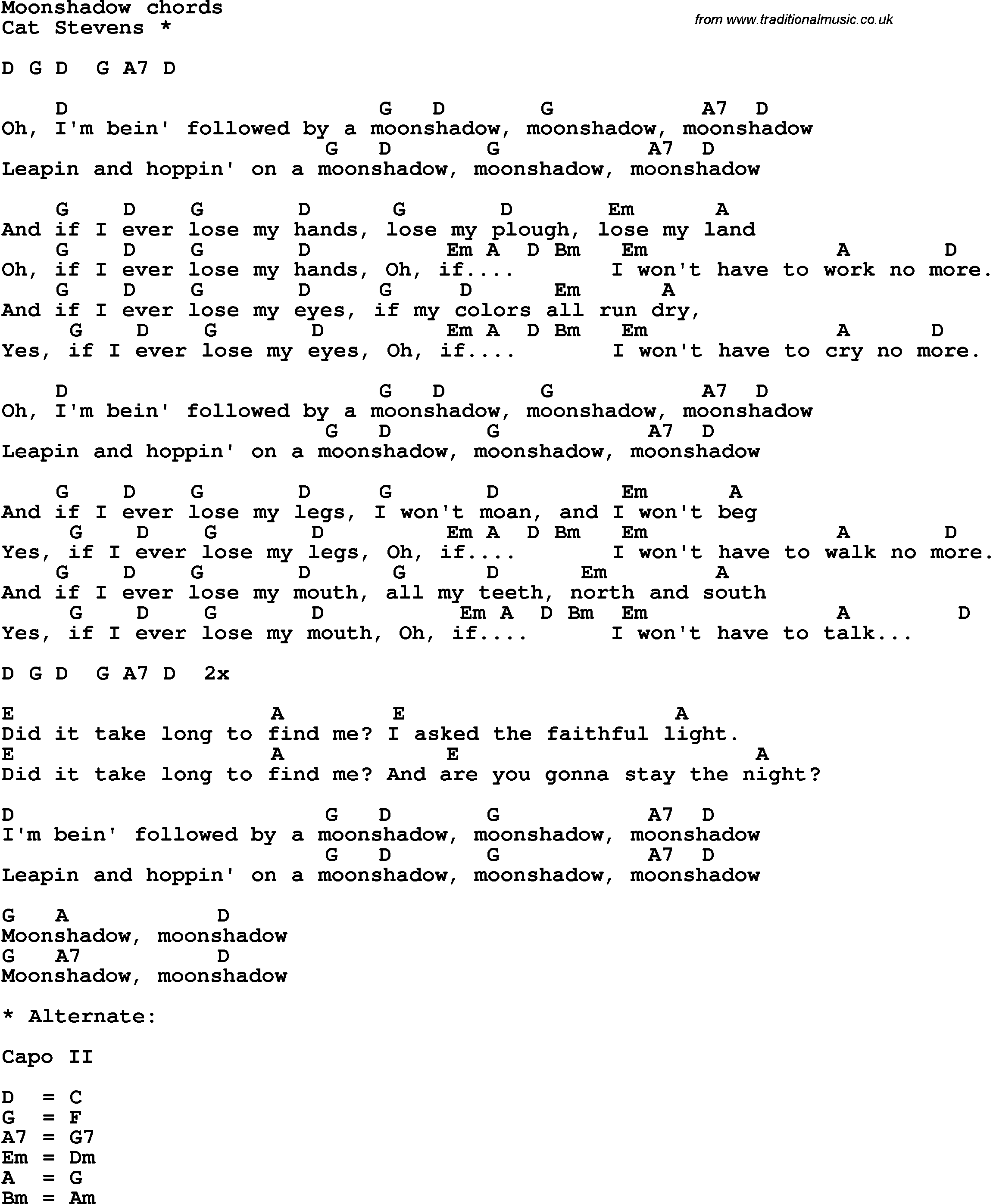 Song Lyrics With Guitar Chords For Moon Shadow