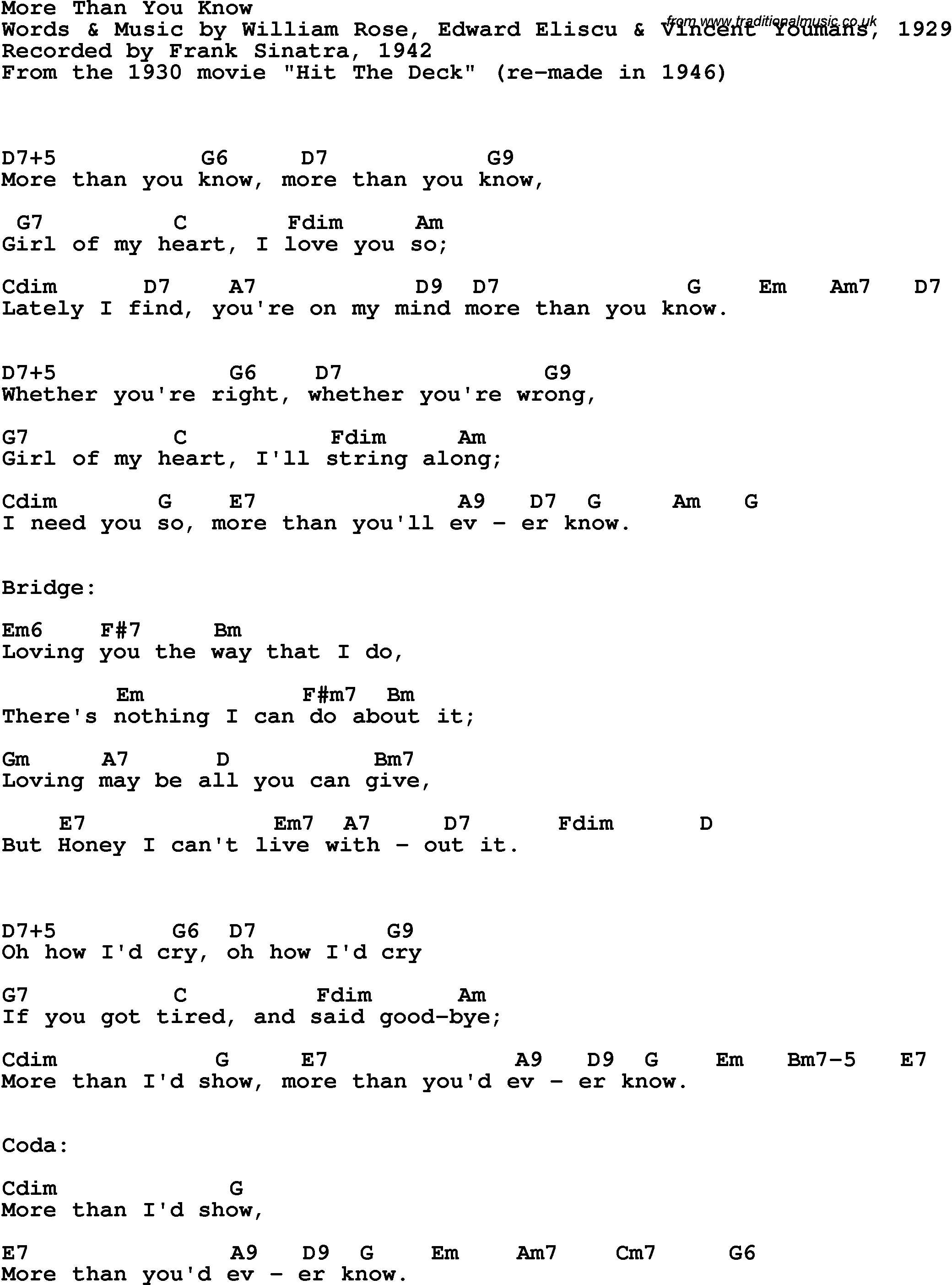 Song Lyrics With Guitar Chords For More Than You Know Frank