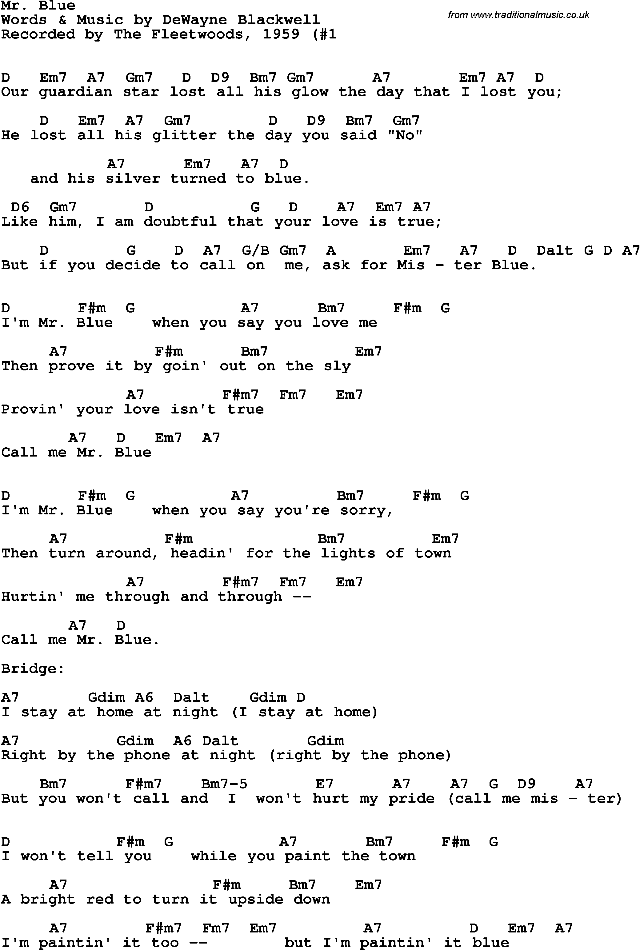 Song Lyrics With Guitar Chords For Mr Blue The Fleetwoods 1959