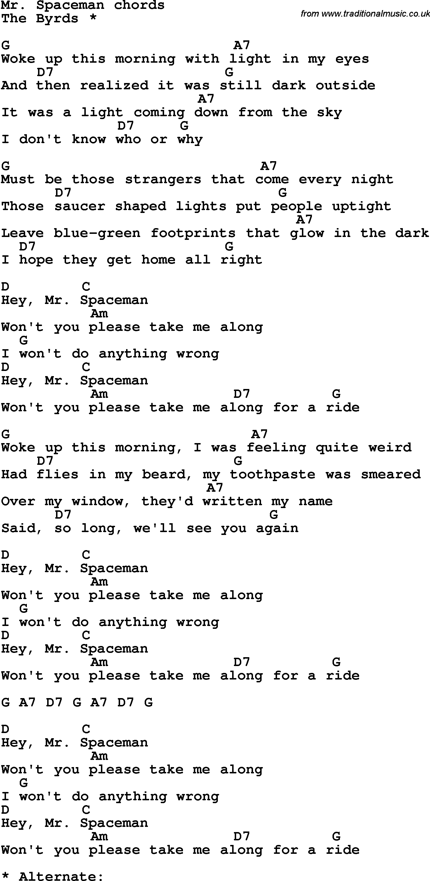 Song Lyrics With Guitar Chords For Mr Spaceman