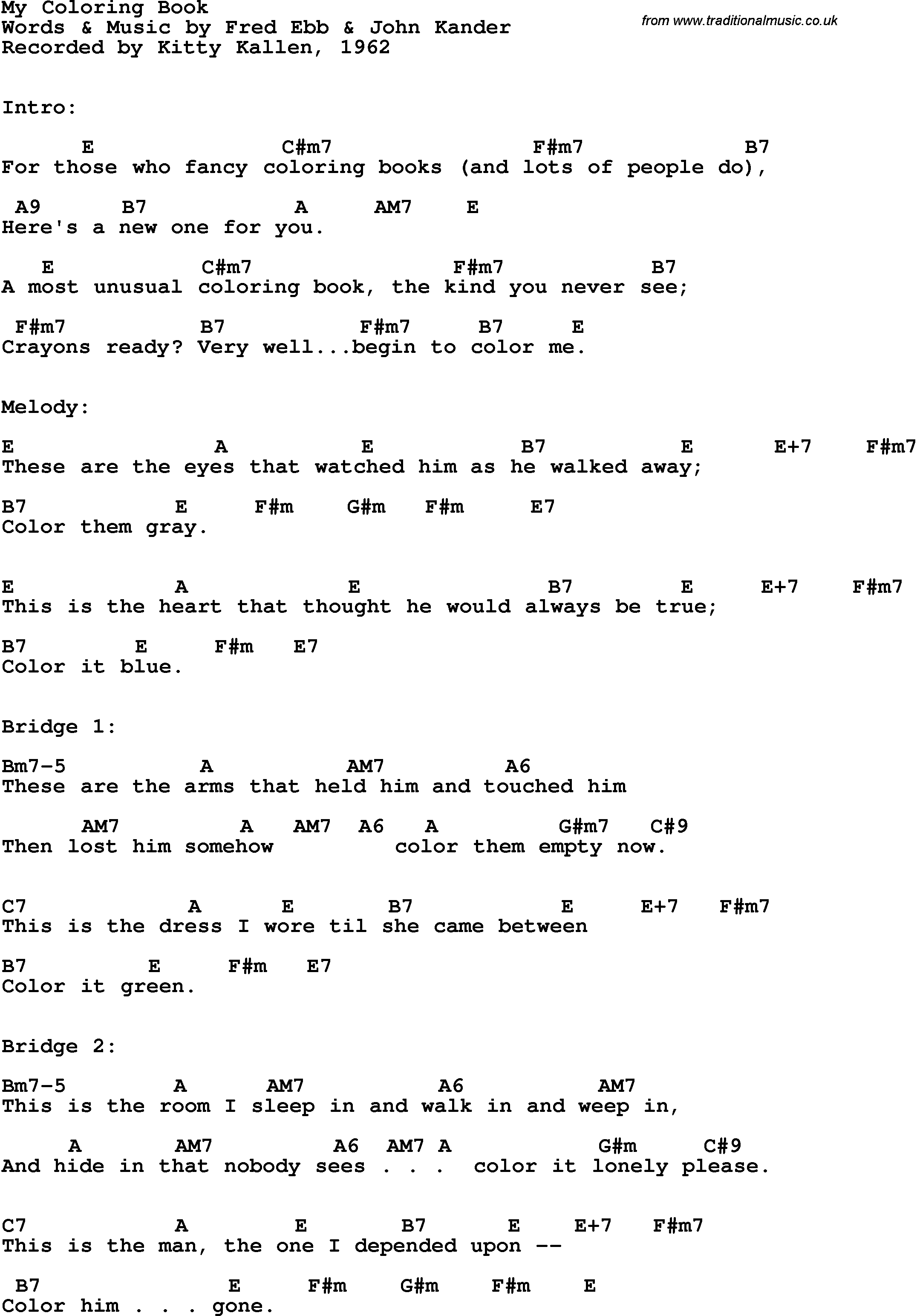 Song lyrics with guitar chords for My Coloring Book - Kitty Kallen, 1962
