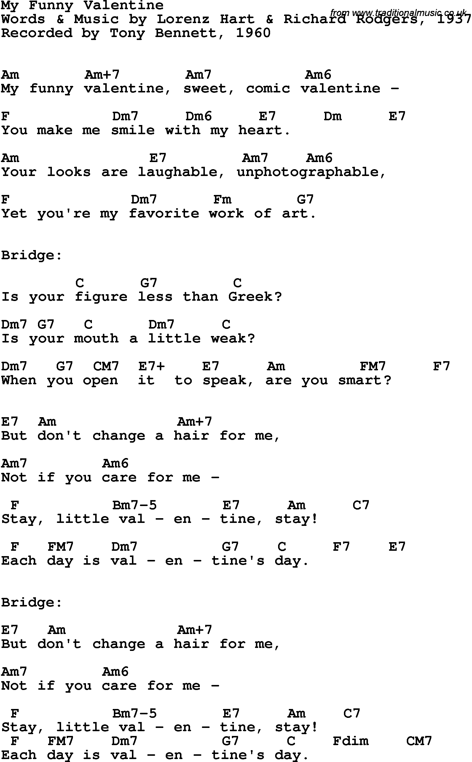 Song Lyrics With Guitar Chords For My Funny Valentine   Frank Sinatra, 1954