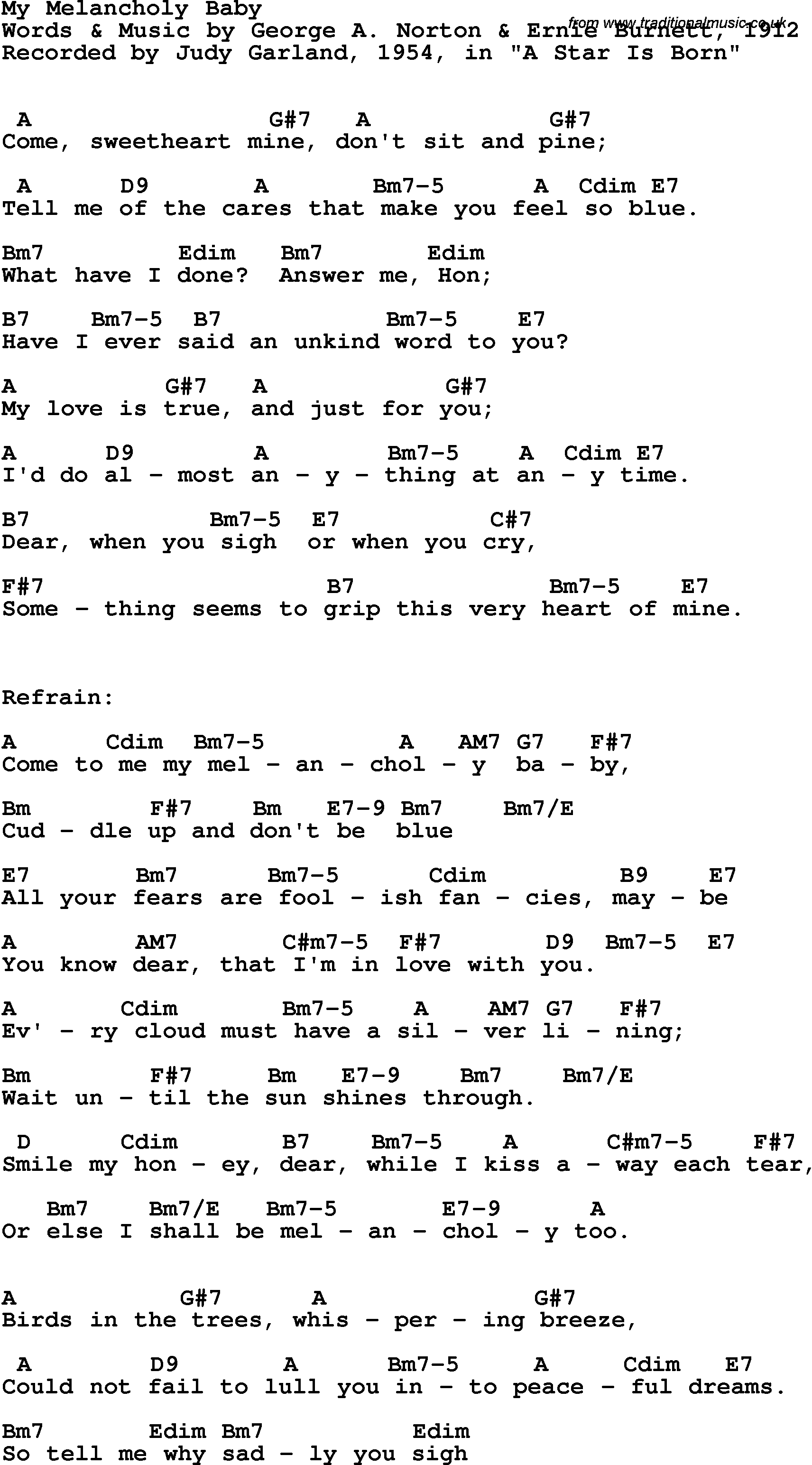 Song Lyrics With Guitar Chords For My Melancholy Baby Judy Garland